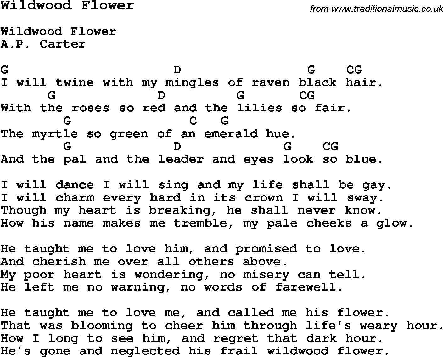 Traditional Song Wildwood Flower With Chords Tabs And Lyrics