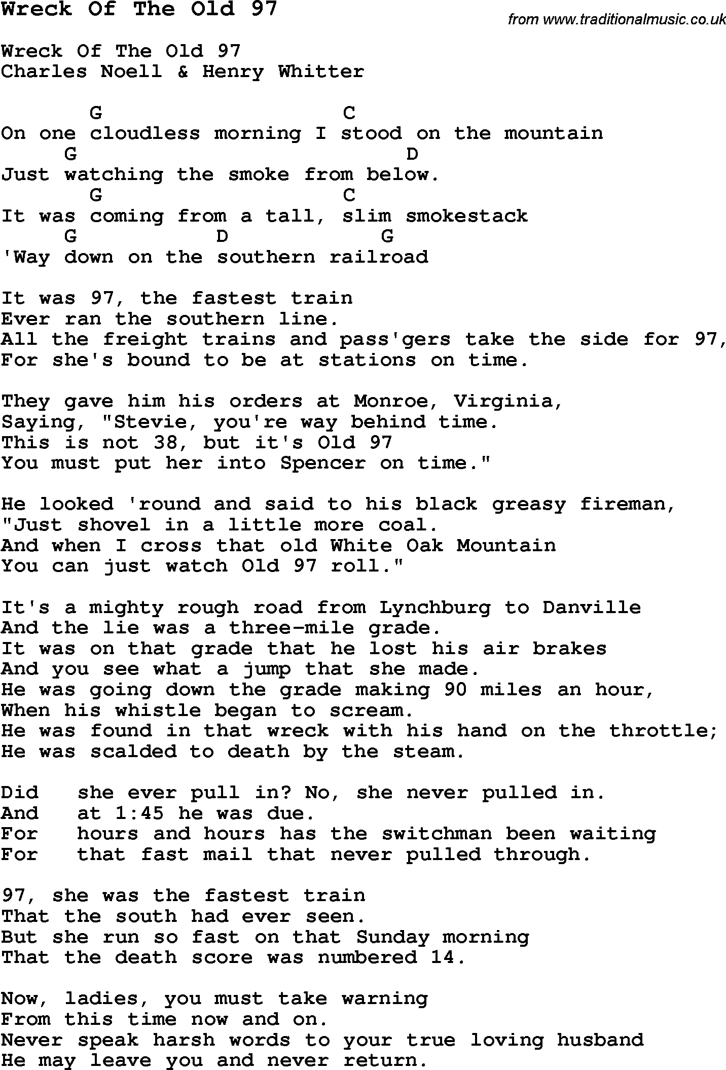 Song wreck of the old 97 with chords tabs and lyrics traditional song wreck of the old 97 with chords tabs and lyrics hexwebz Images