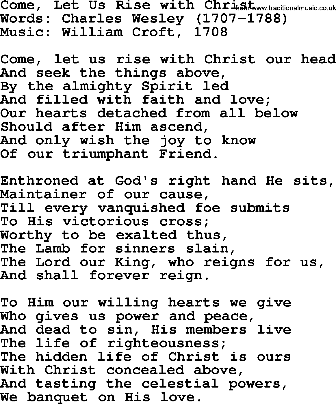 Ascension Hymn: Come, Let Us Rise With Christ - lyrics, and PDF