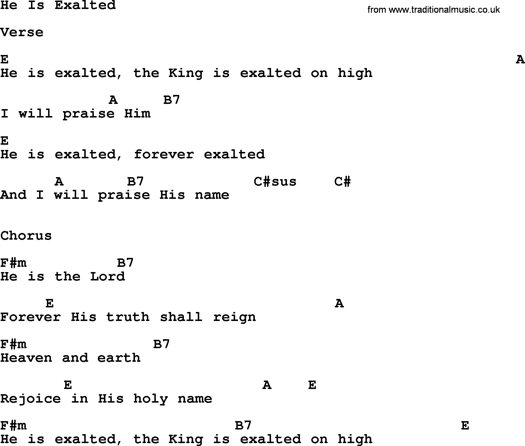 ascension hymn he is exalted lyrics chords and pdf