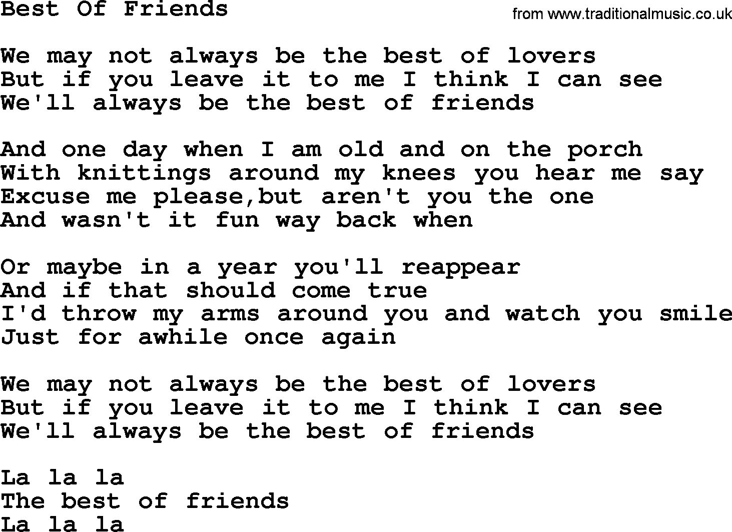 Friends and lovers song