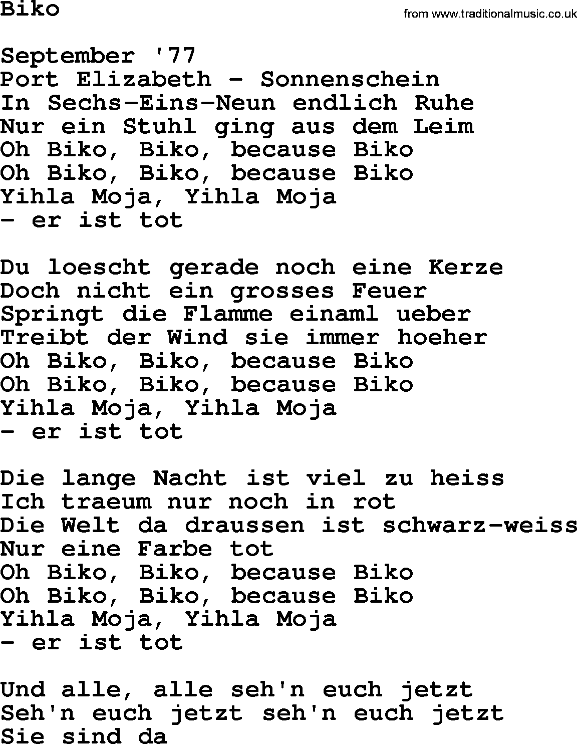 Joan Baez song - Biko, lyrics