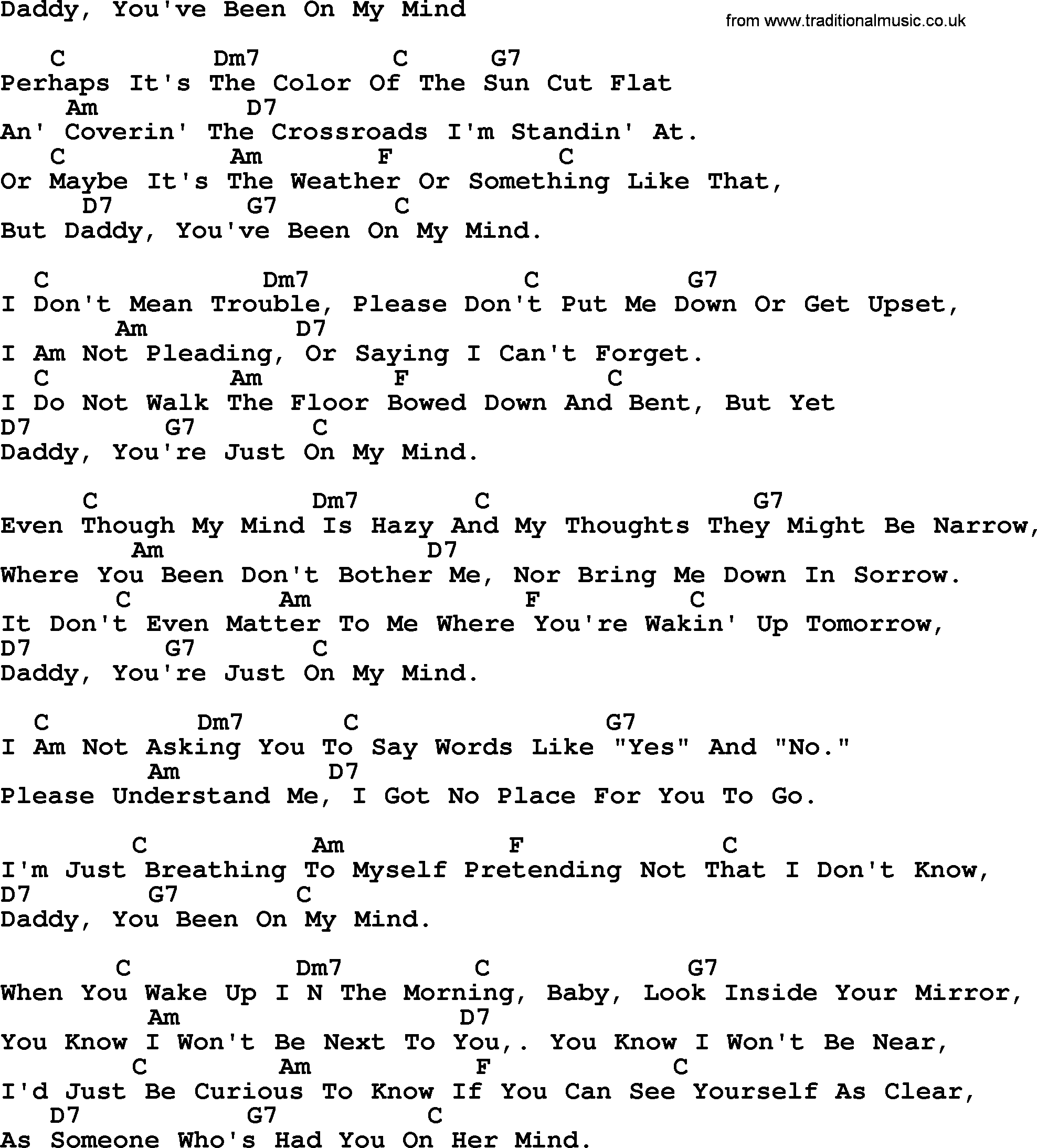 Joan Baez Song Daddy Youve Been On My Mind Lyrics And Chords