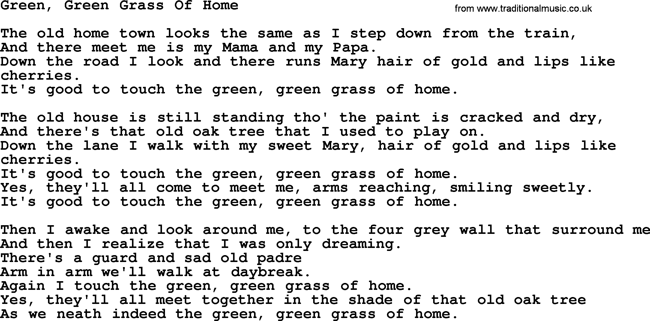 Joan Baez song - Green, Green Grass Of Home, lyrics