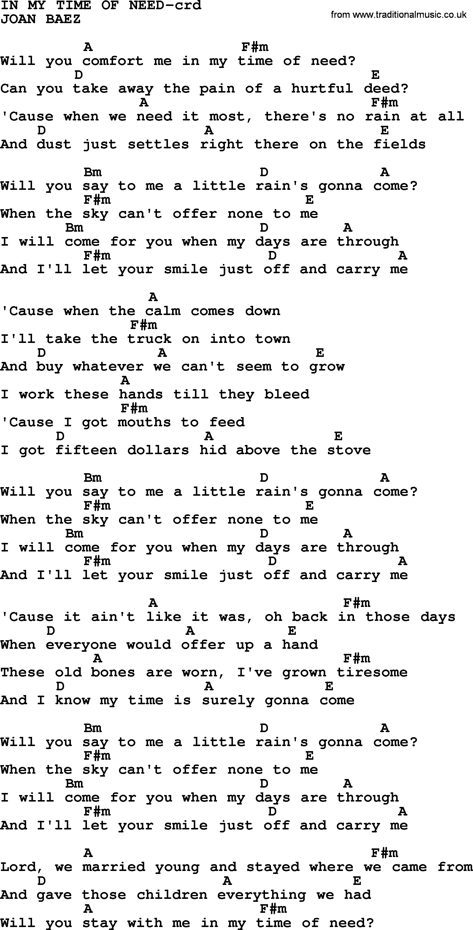 Joan Baez Song In My Time Of Need Lyrics And Chords