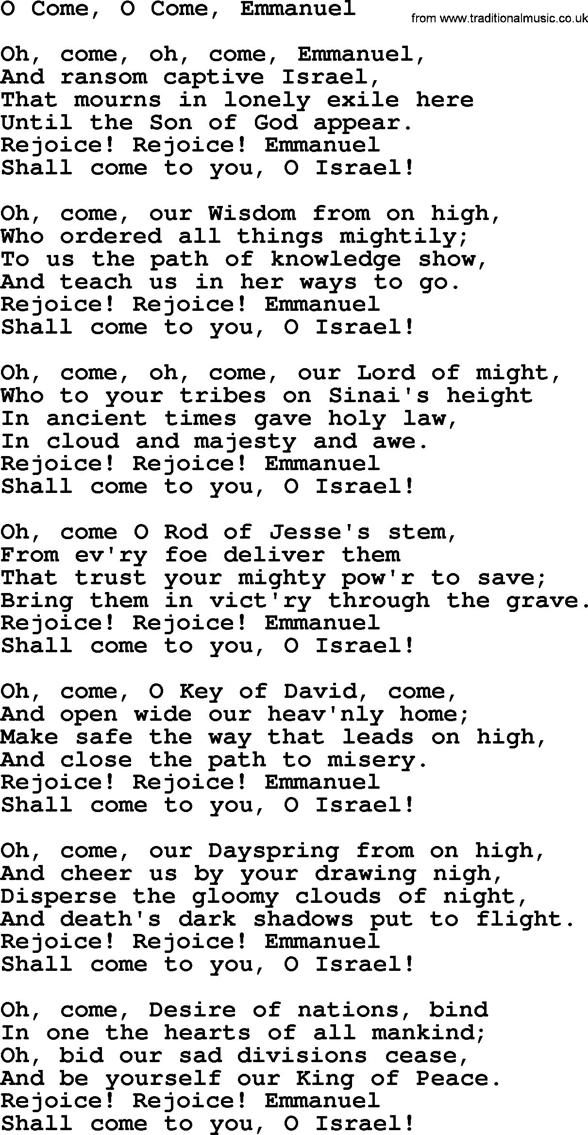 Joan Baez Song O Come O Come Emmanuel Lyrics