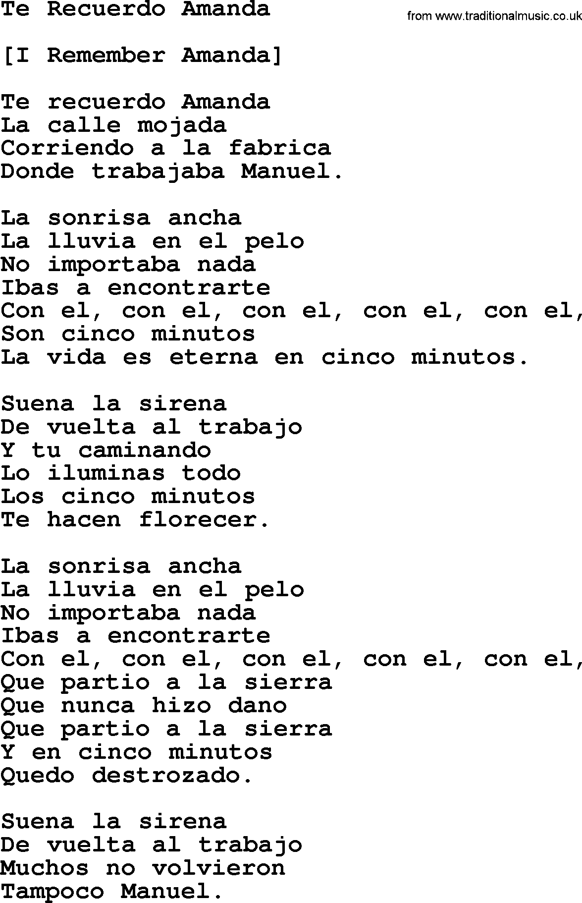 Joan Baez Song Te Recuerdo Amanda Lyrics
