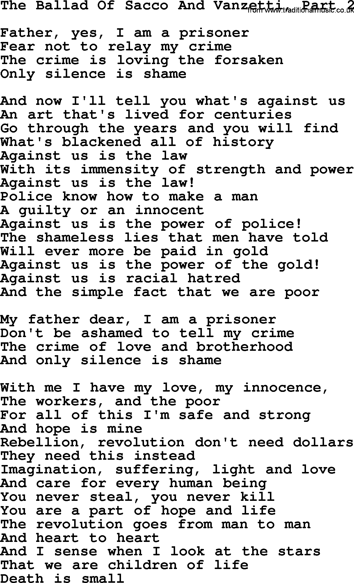 Joan Baez song - The Ballad Of Sacco And Vanzetti, Part 2