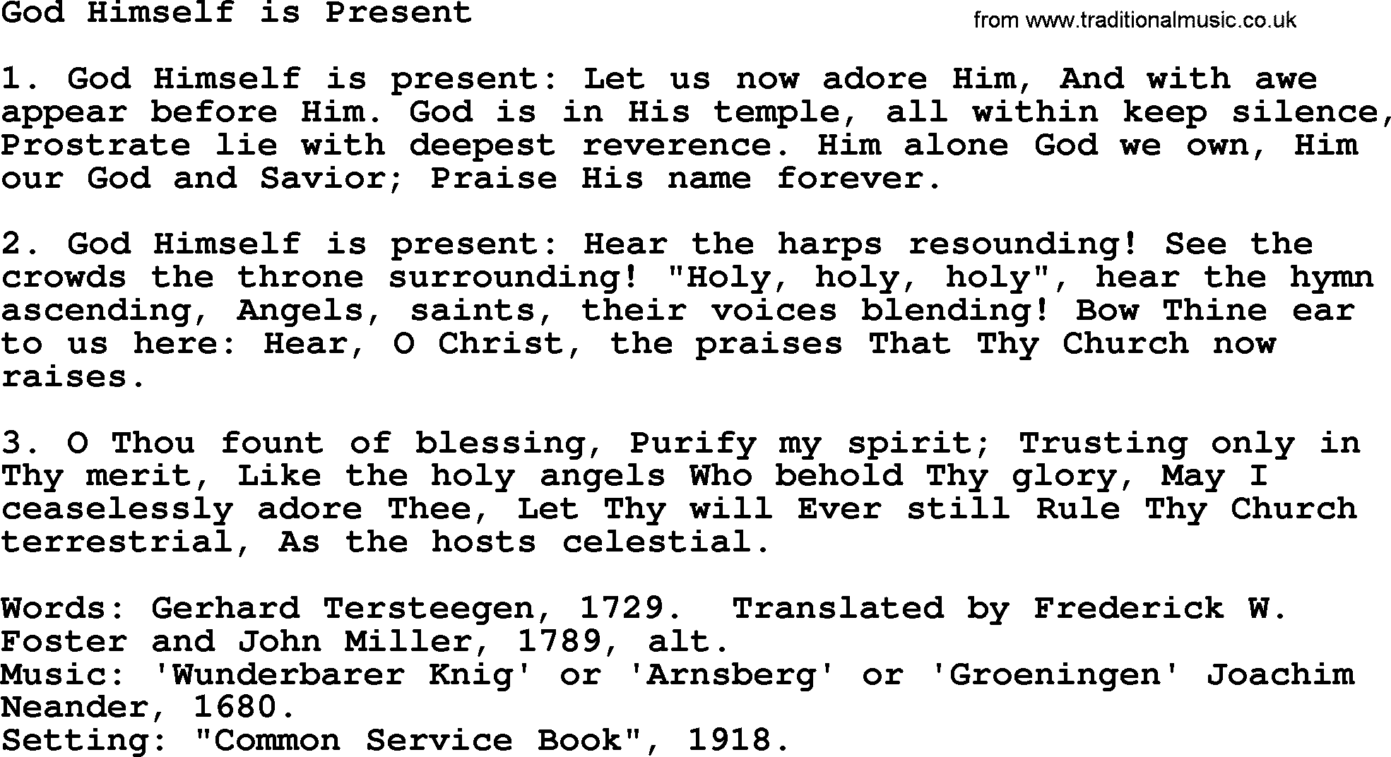 God Himself Is Present<br>Baptism and Christening Hymns and