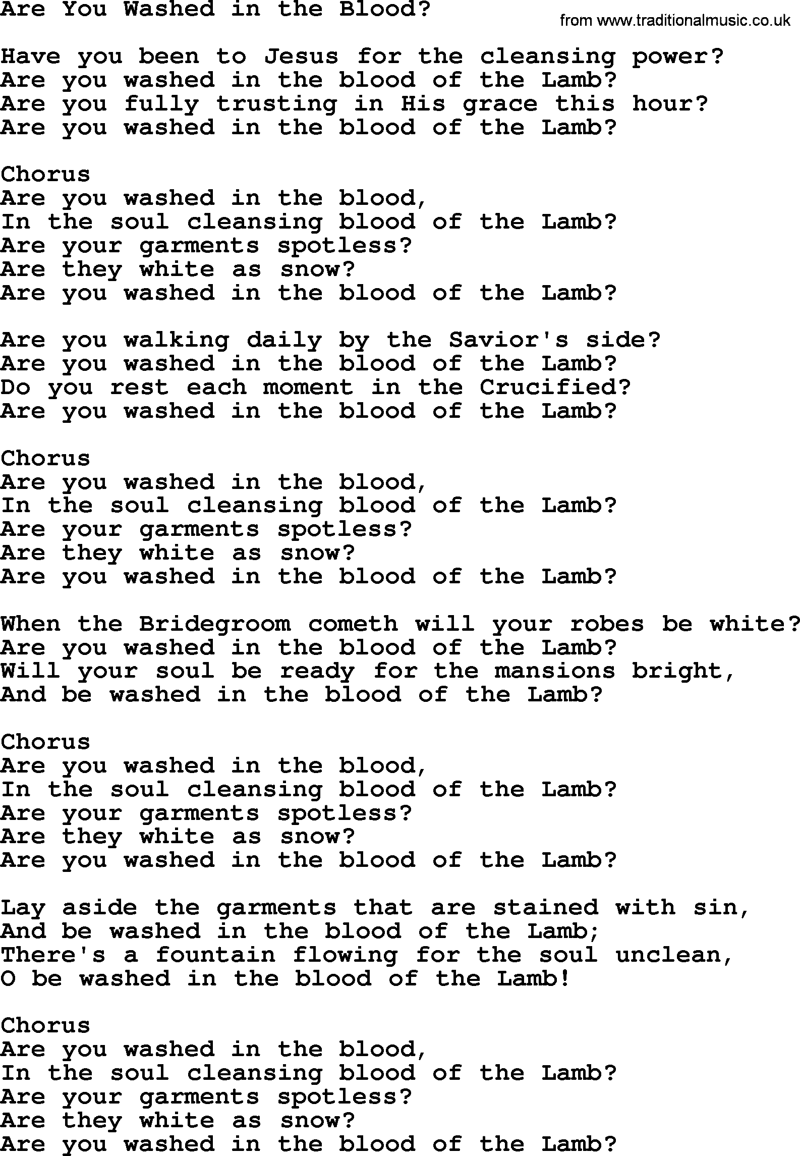 Are You Washed in the Blood (Hymn Charts with Lyrics ...