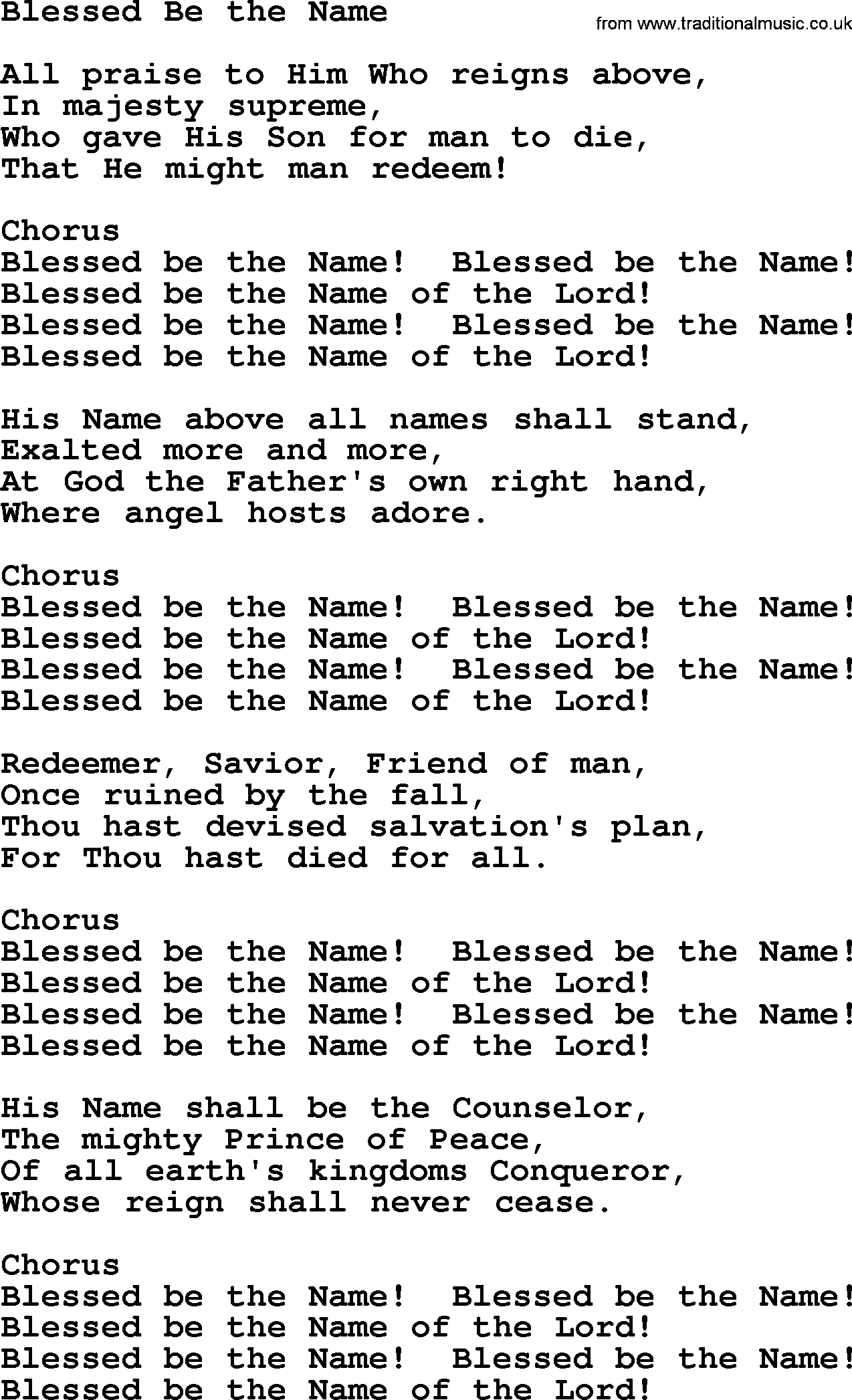 Hymn Blessed Be the Name pg 110 - YouTube