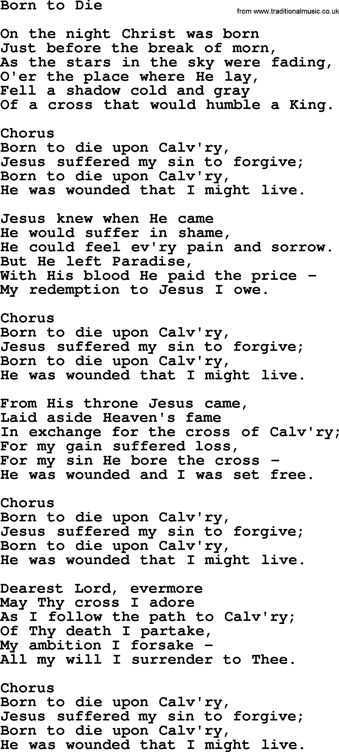 Baptist Hymnal, Christian Song: Born To Die- lyrics with ...
