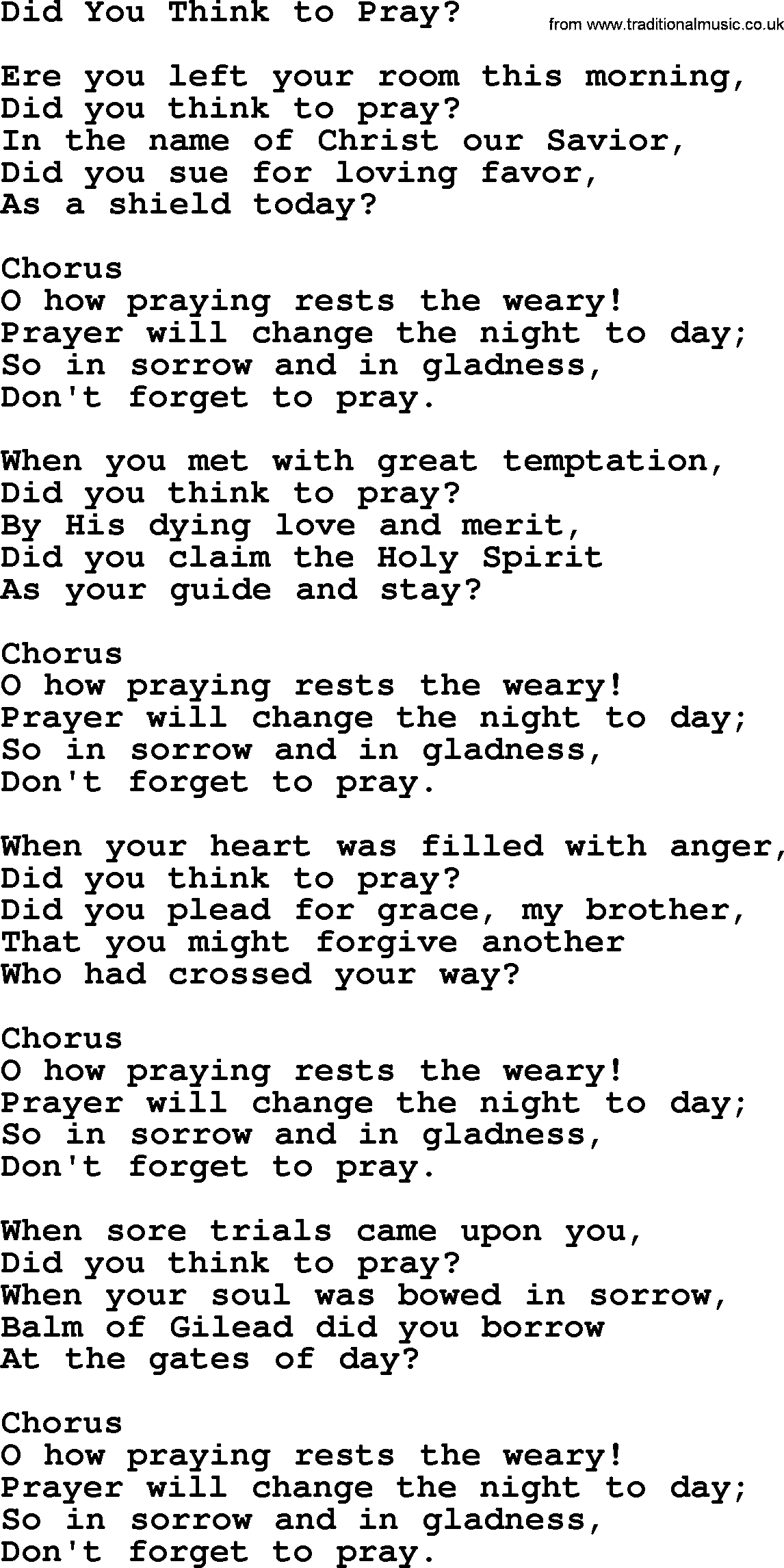 Baptist Hymnal, Christian Song: Did You Think To Pray- lyrics with