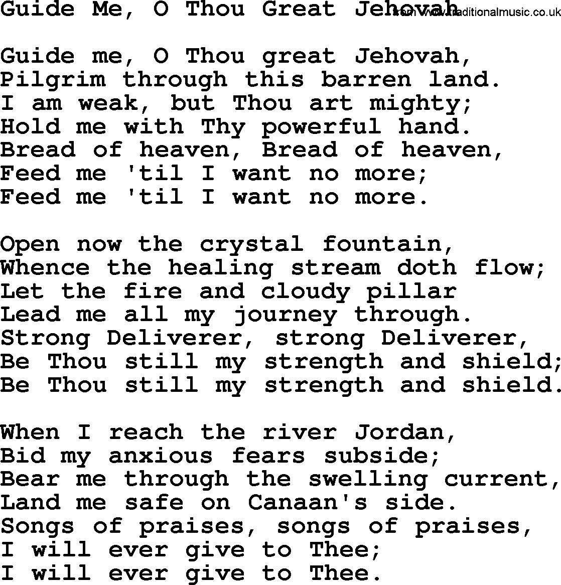 Baptist Hymnal, Christian Song: Guide Me, O Thou Great