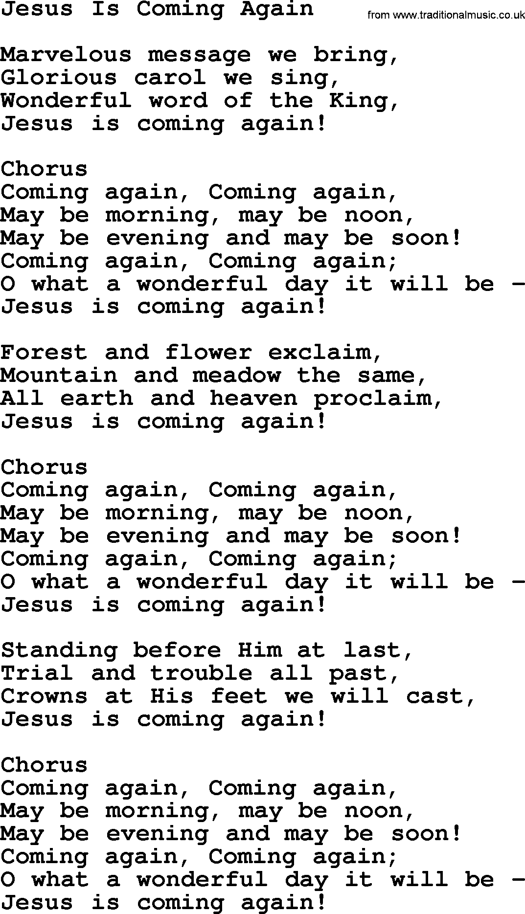 baptist hymnal christian song jesus is coming again