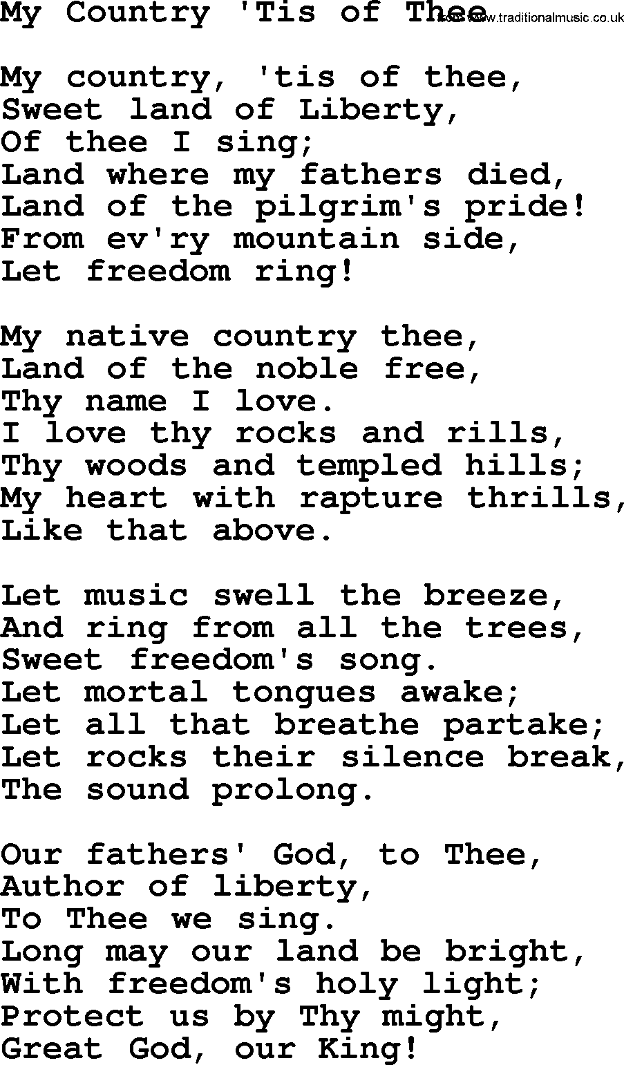 Baptist Hymnal Christian Song My Country Tis Of Thee