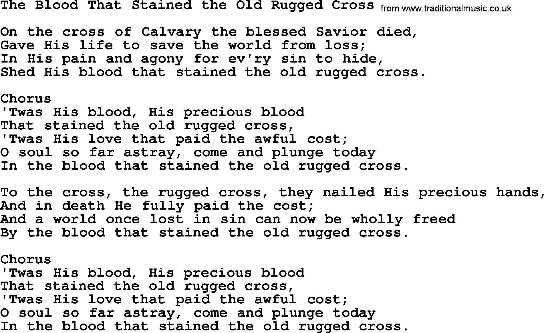 Baptist Hymnal Hymn: The Blood That Stained The Old Rugged Cross, Lyrics  With Pdf