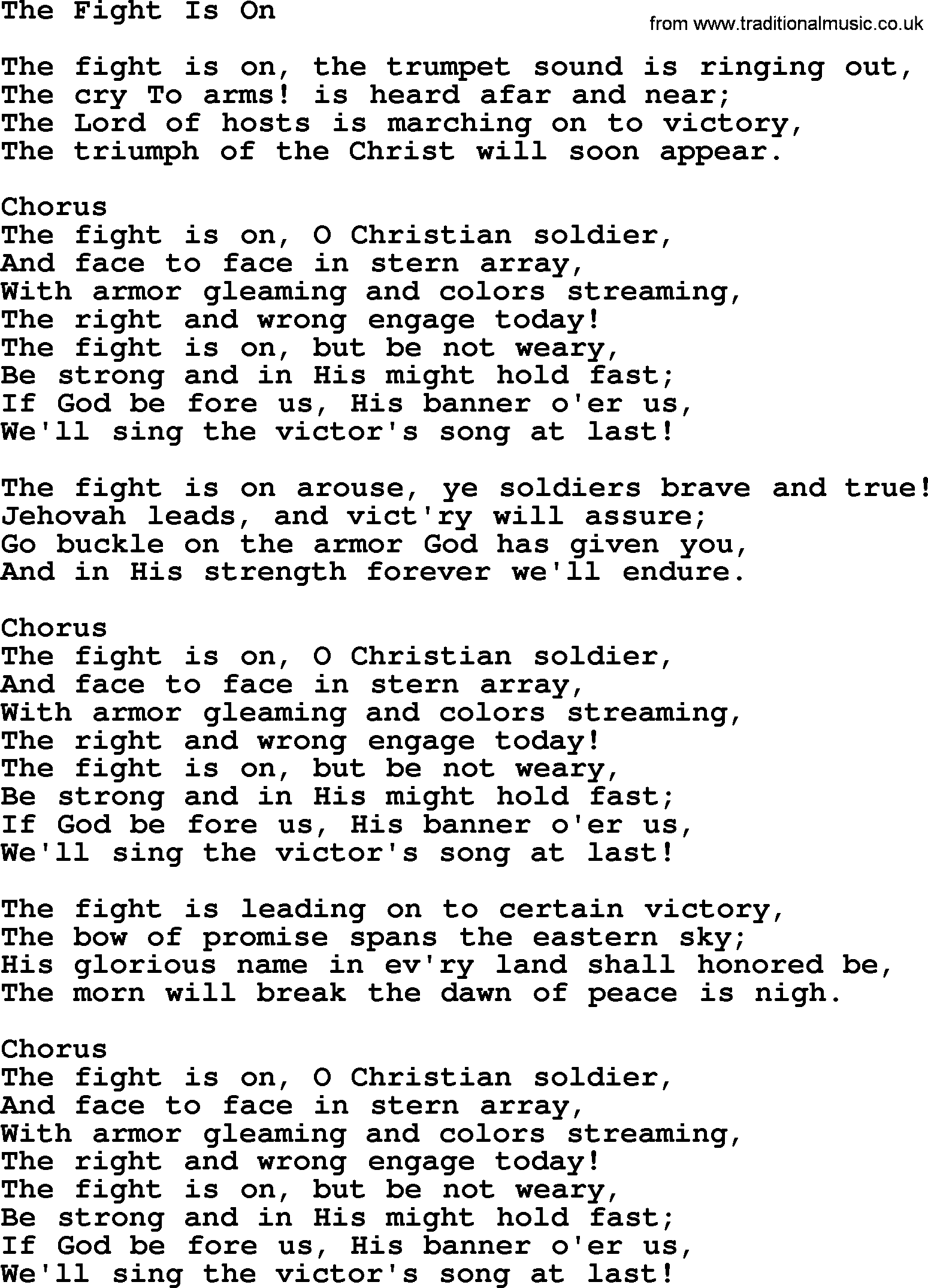 Baptist Hymnal, Christian Song: The Fight Is On- lyrics with PDF for