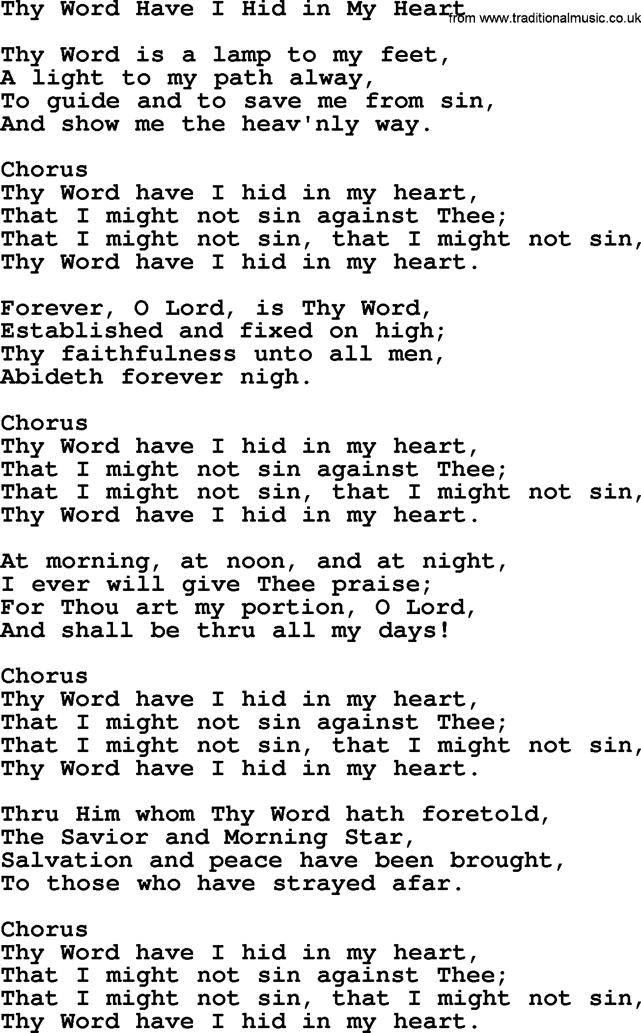 Baptist Hymnal, Christian Song: Thy Word Have I Hid In My Heart ...