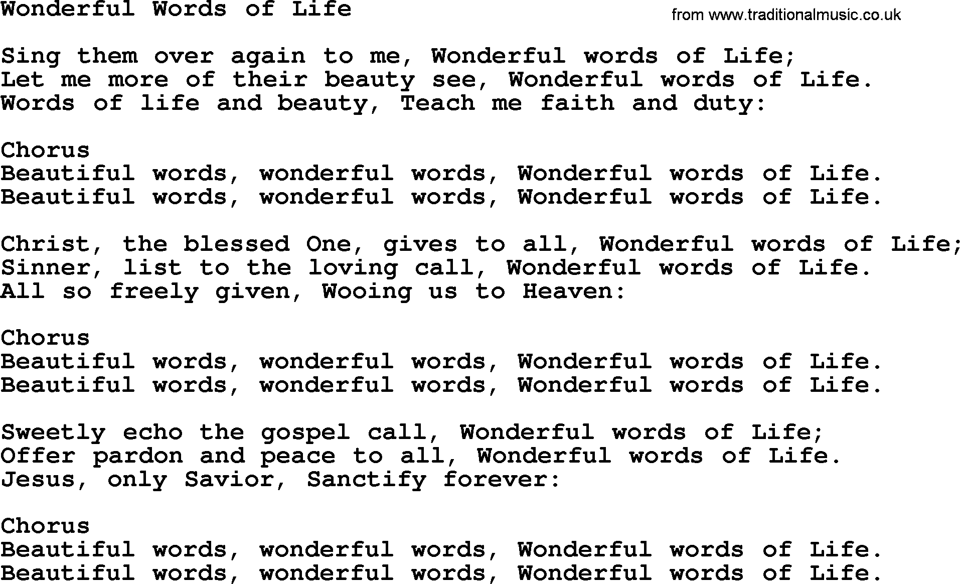 Baptist Hymnal, Christian Song: Wonderful Words Of Life- lyrics with PDF for printing