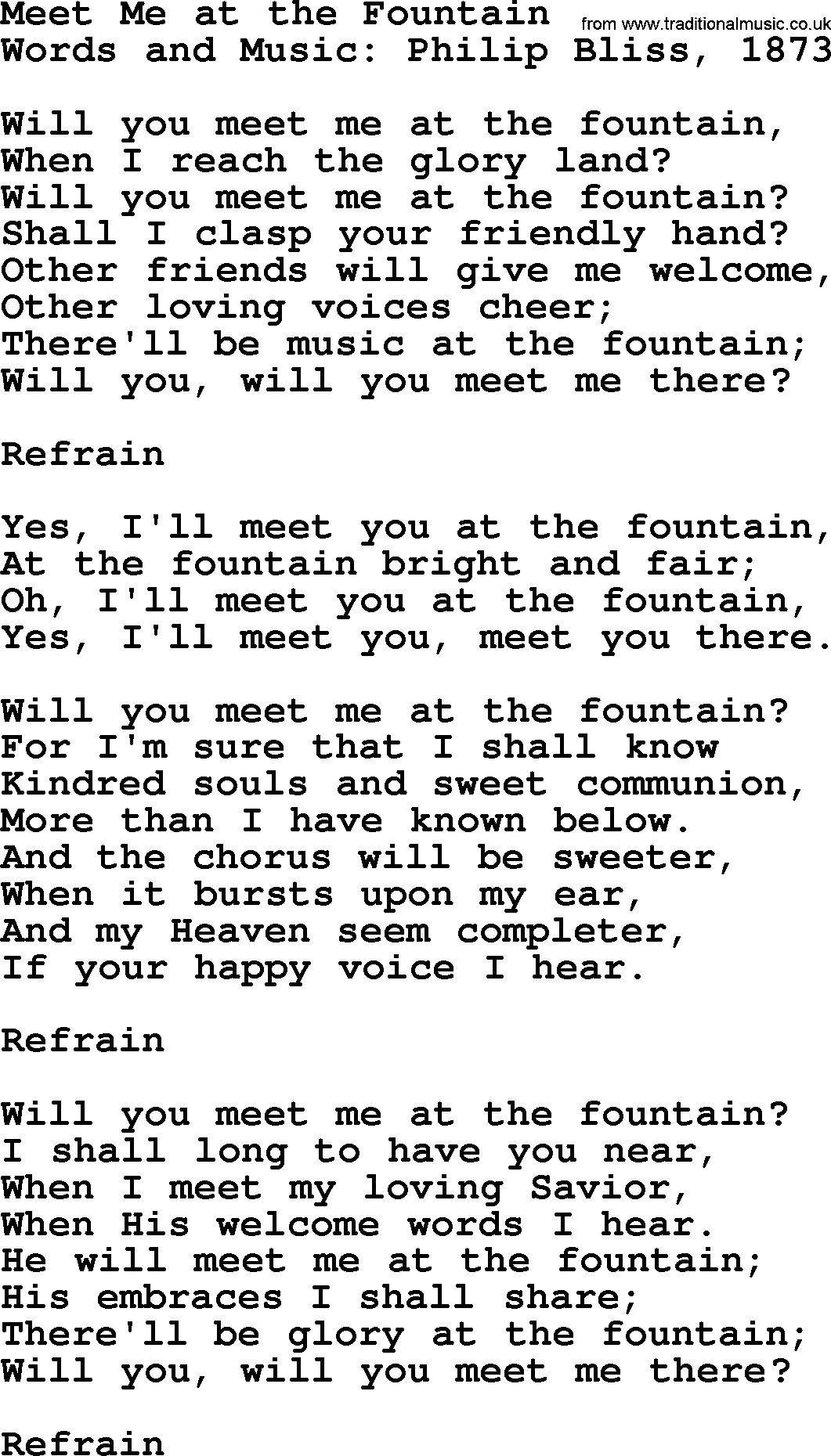 meet me at the fountain lyrics