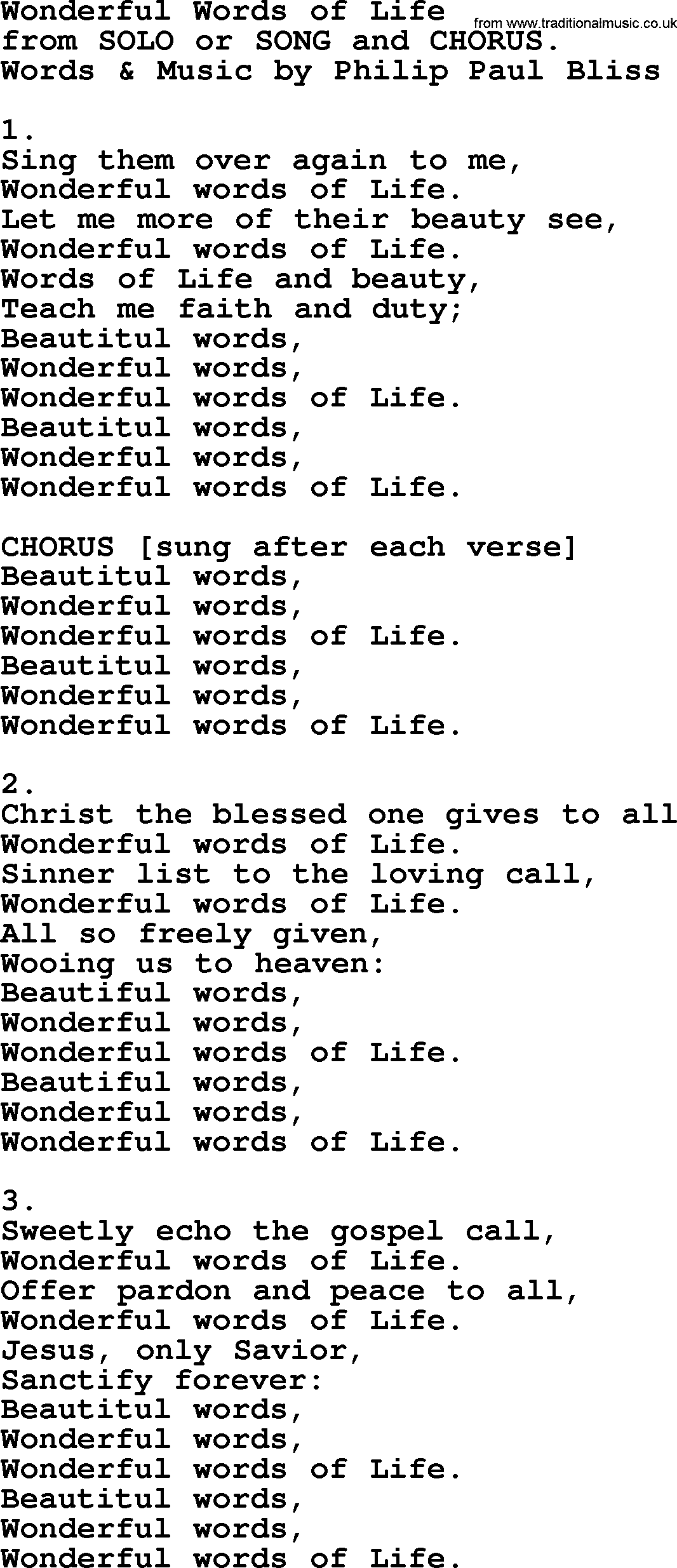 wonderful words of life by philip bliss christian hymn