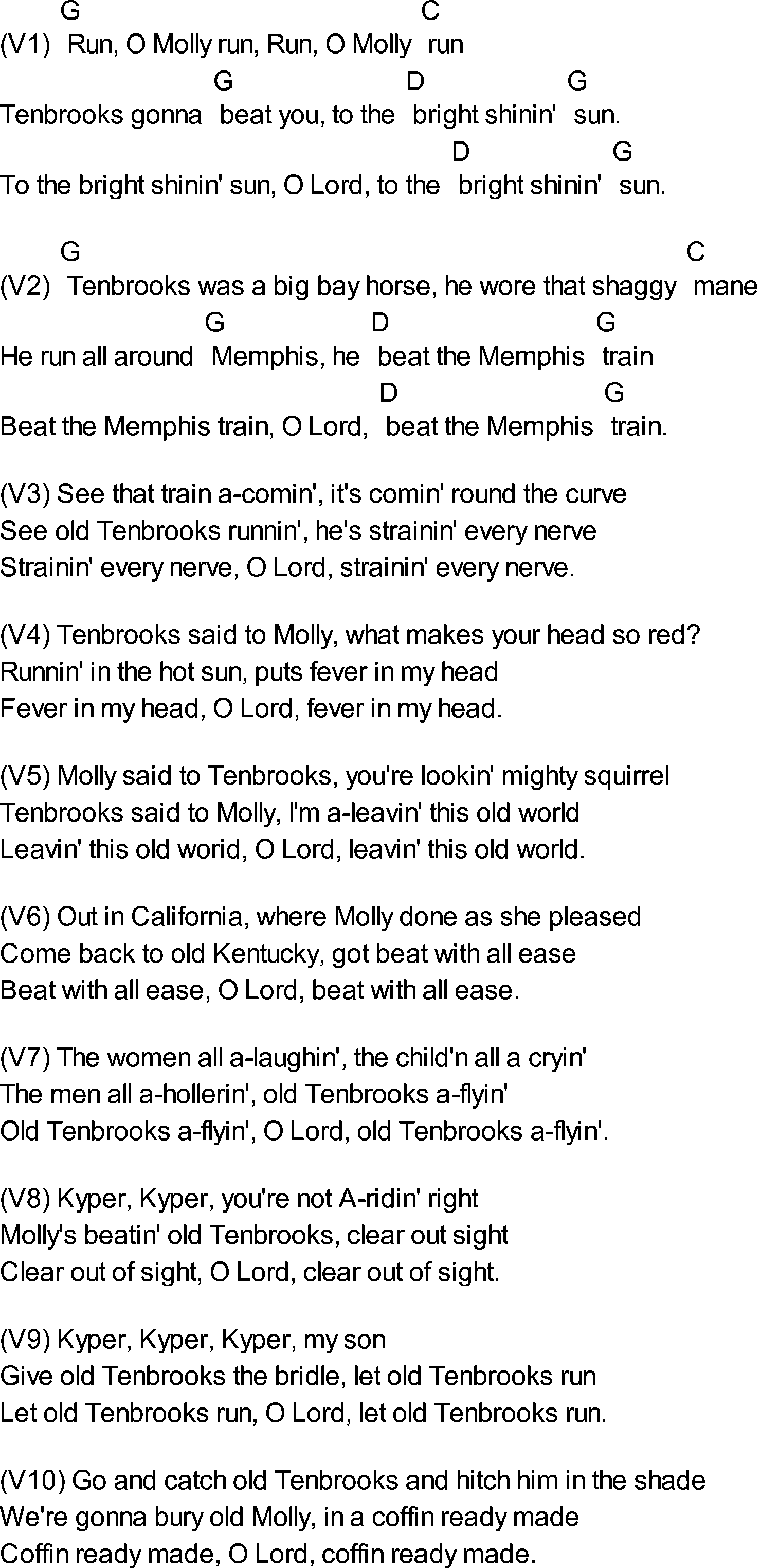 Molly and Tenbrooks Lyrics