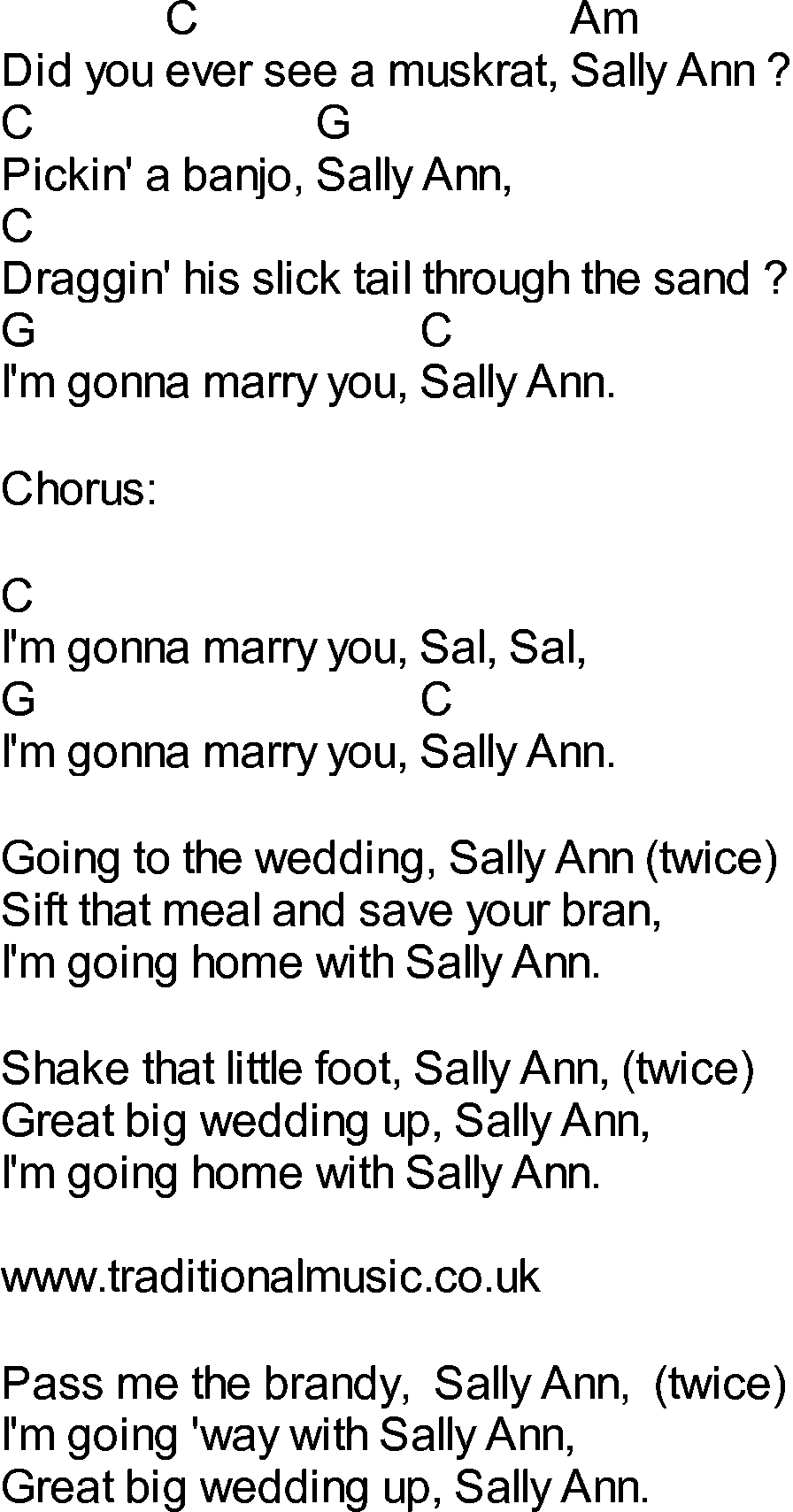bluegrass songs with chords sally ann