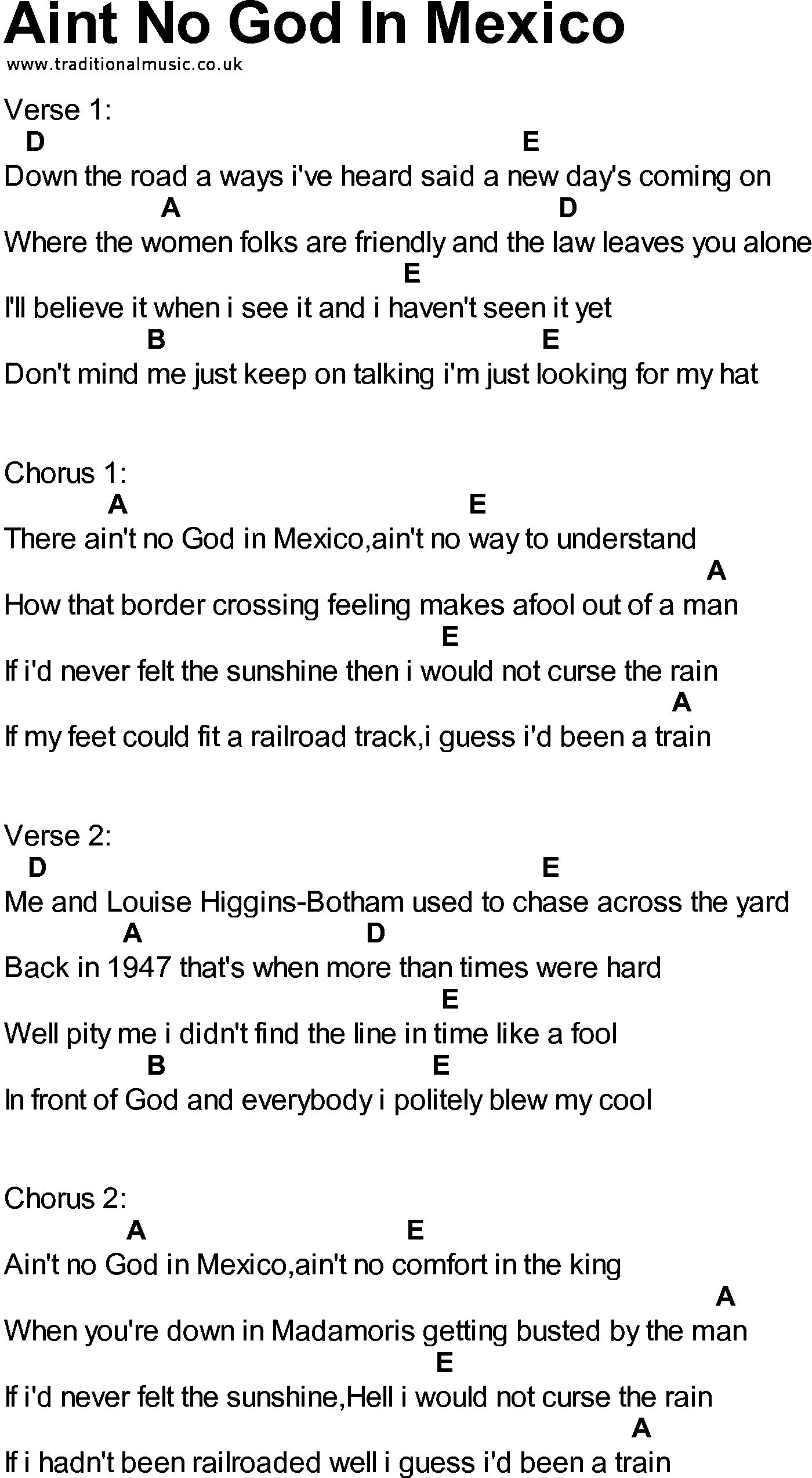 Bluegrass Songs With Chords Aint No God In Mexico