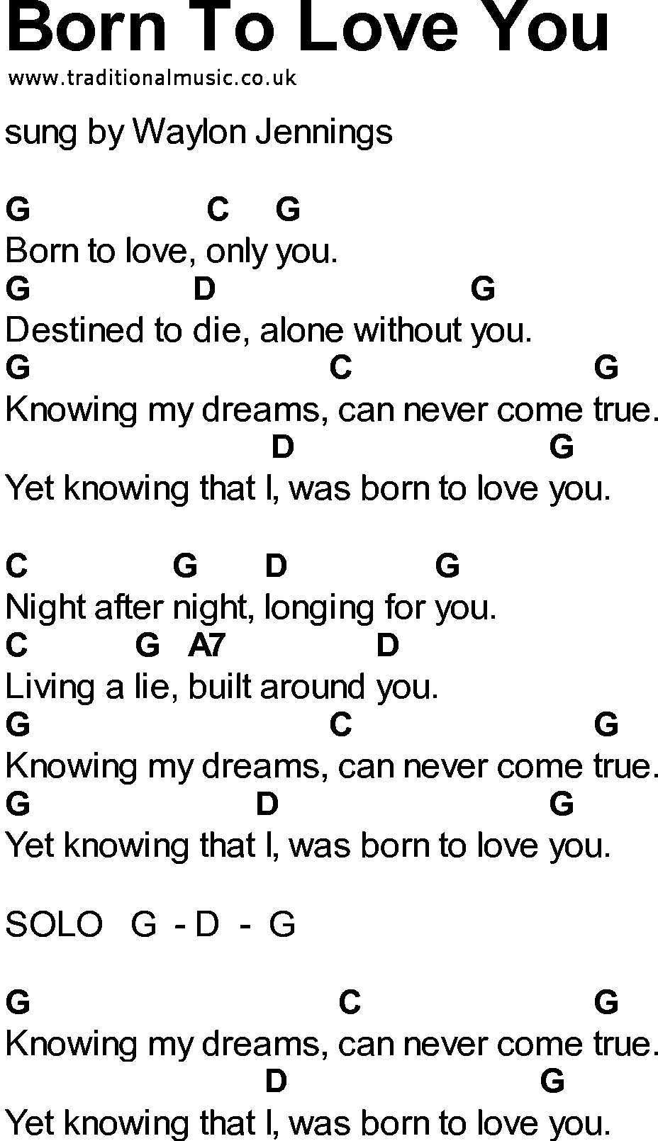 Bluegrass Songs With Chords Born To Love You