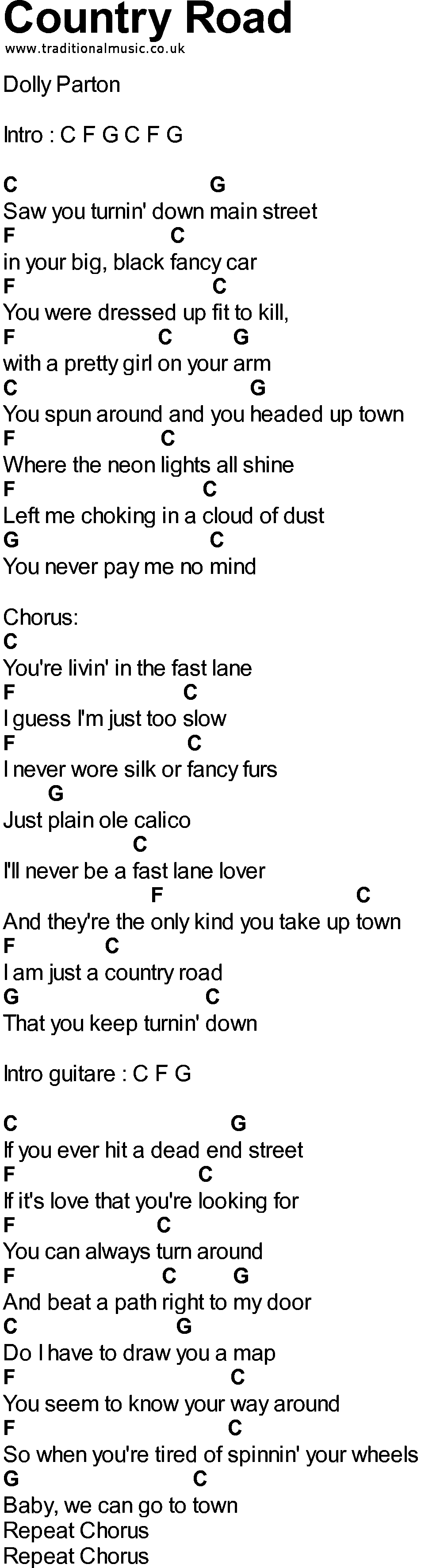 Bluegrass Songs With Chords Country Road