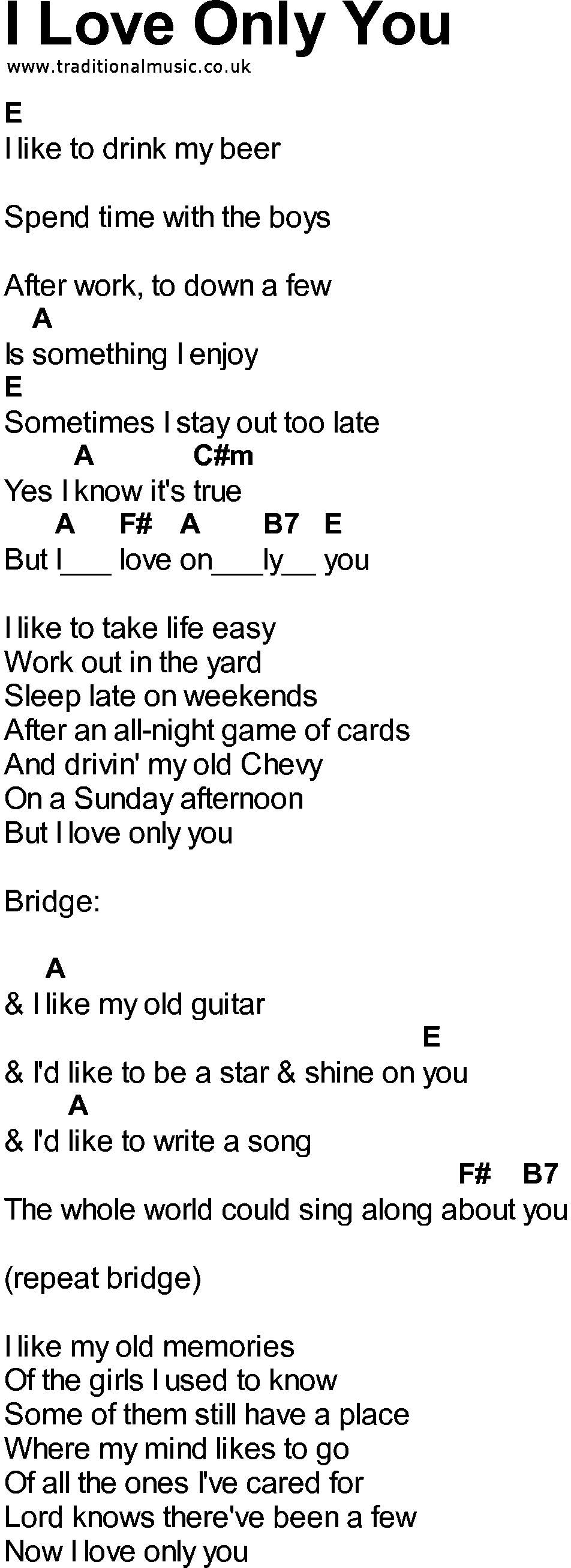Bluegrass Songs With Chords I Love Only You