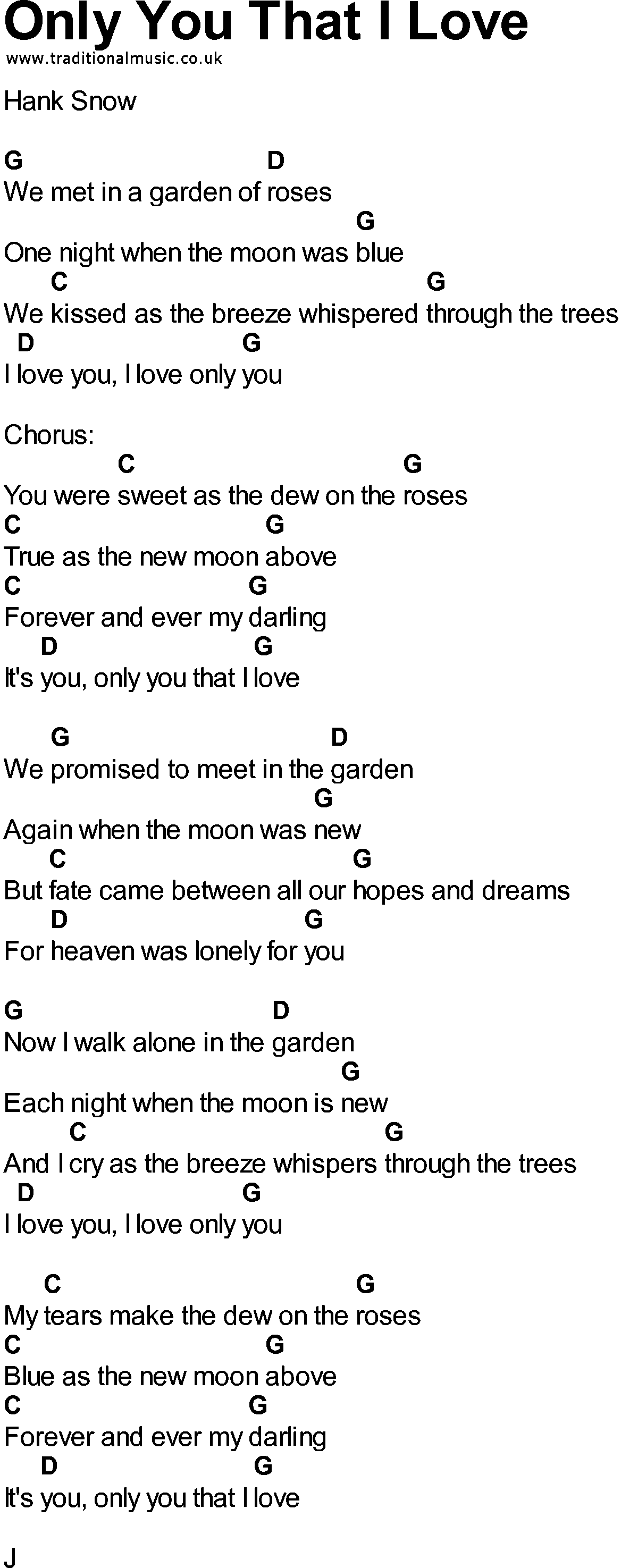 i love you only you lyrics