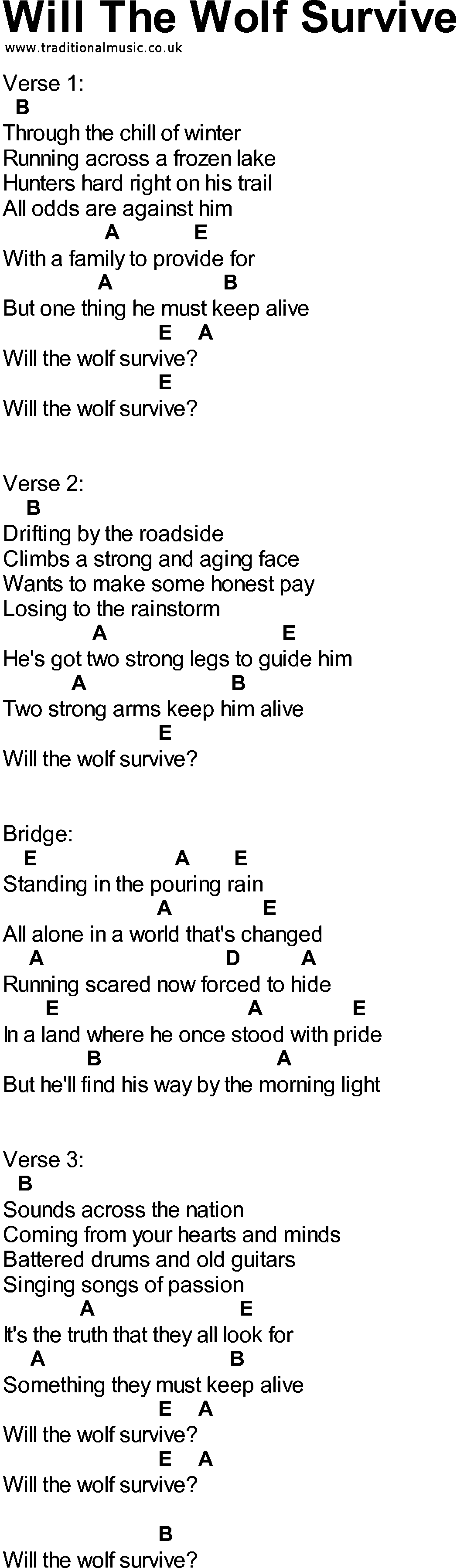 Bluegrass Songs With Chords Will The Wolf Survive
