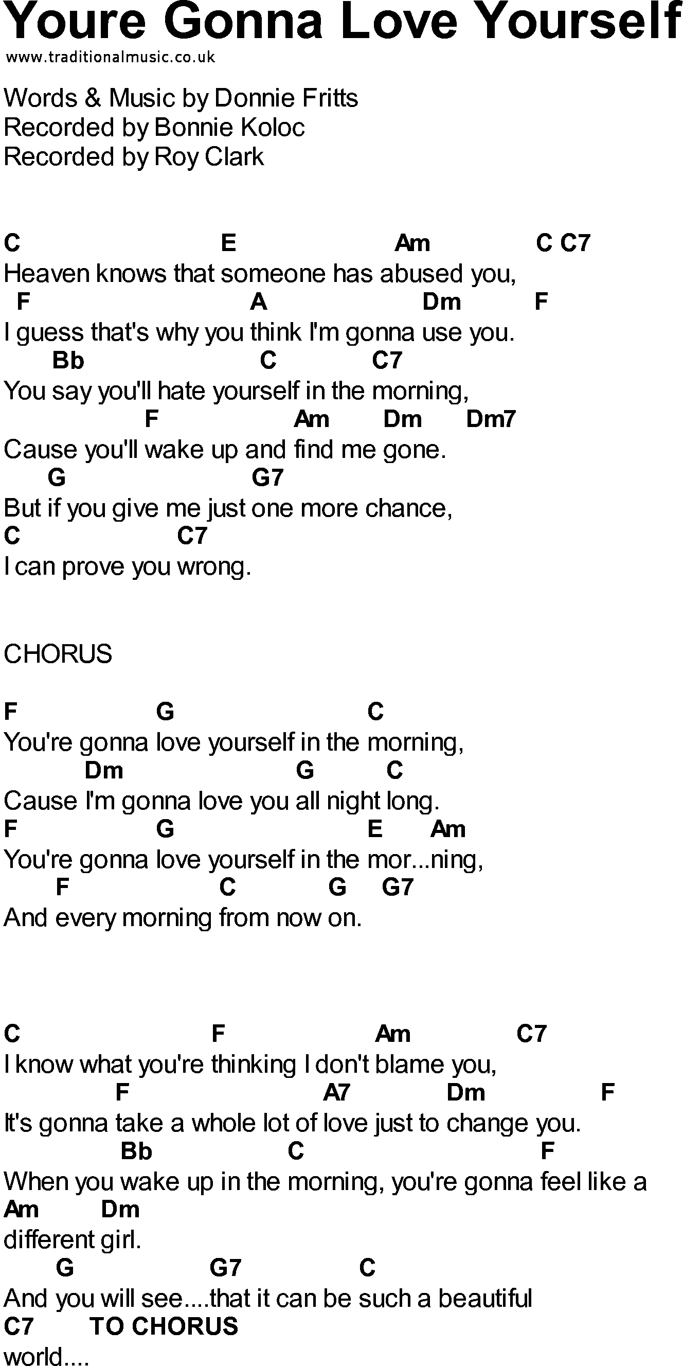 Bluegrass songs with chords - Youre Gonna Love Yourself