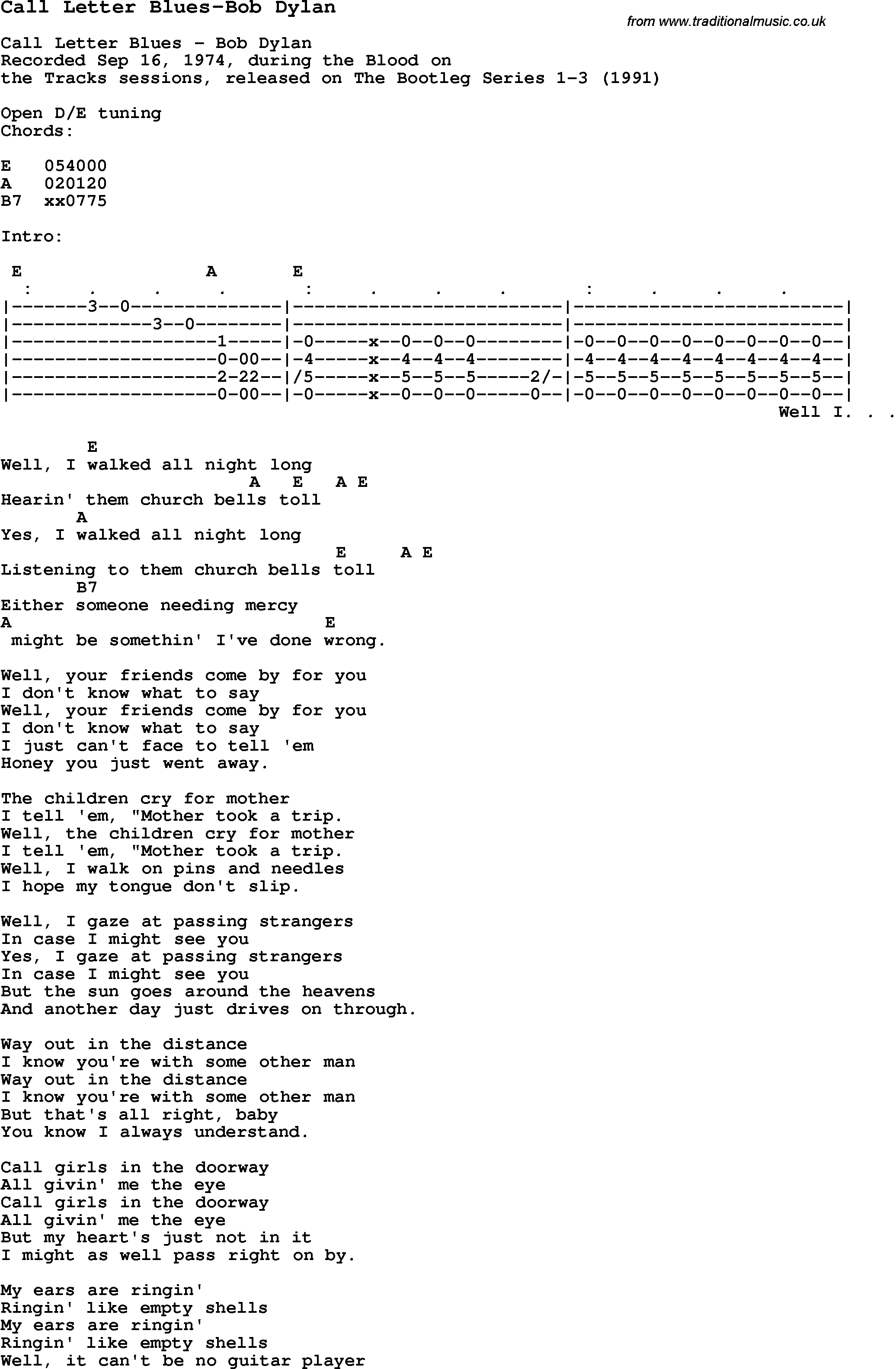 Blues guitar lesson for call letter blues bob dylan with chords blues guitar song lyrics chords tablature playing hints for call letter blues hexwebz Images