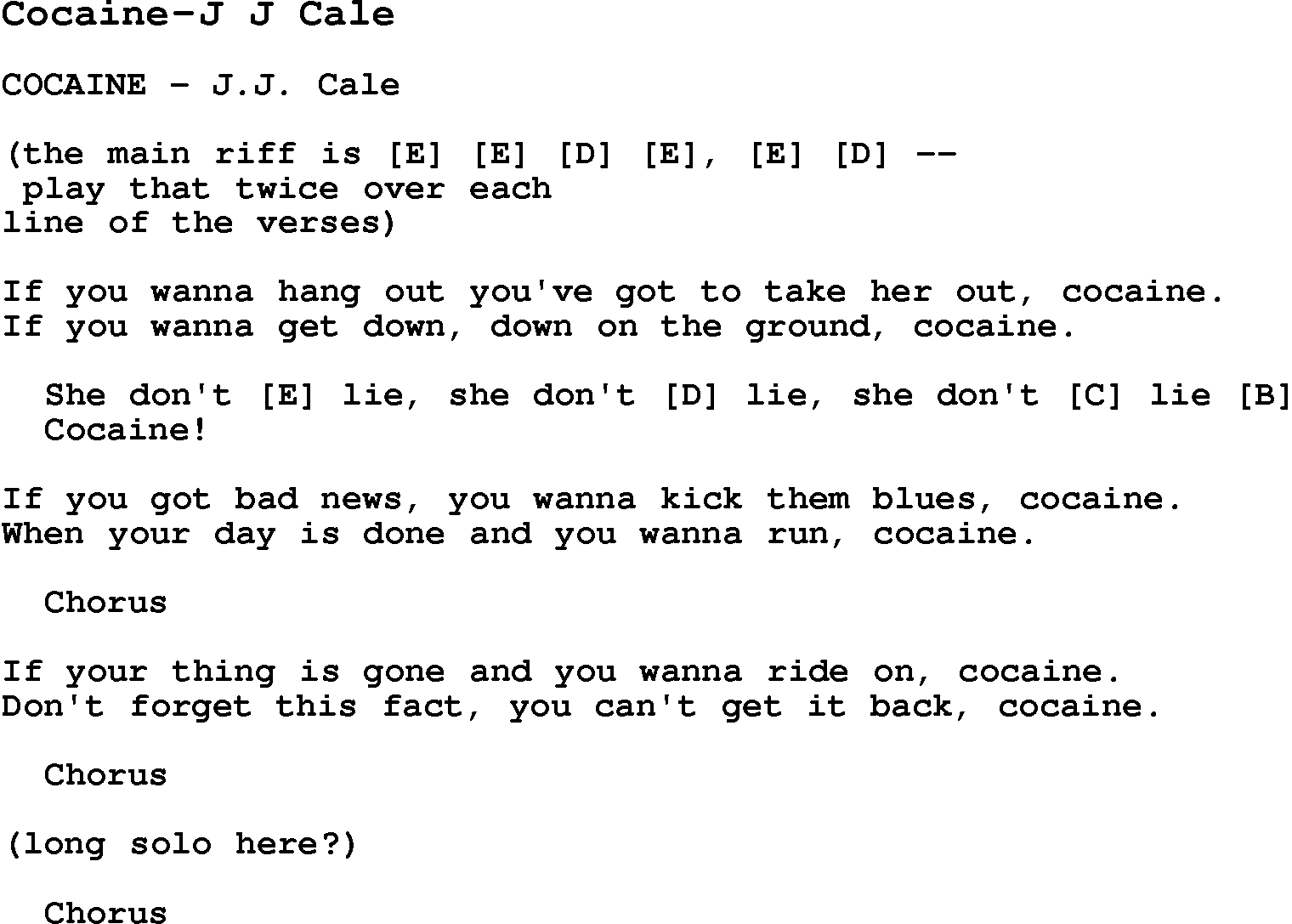 Cocaine Blues Chords