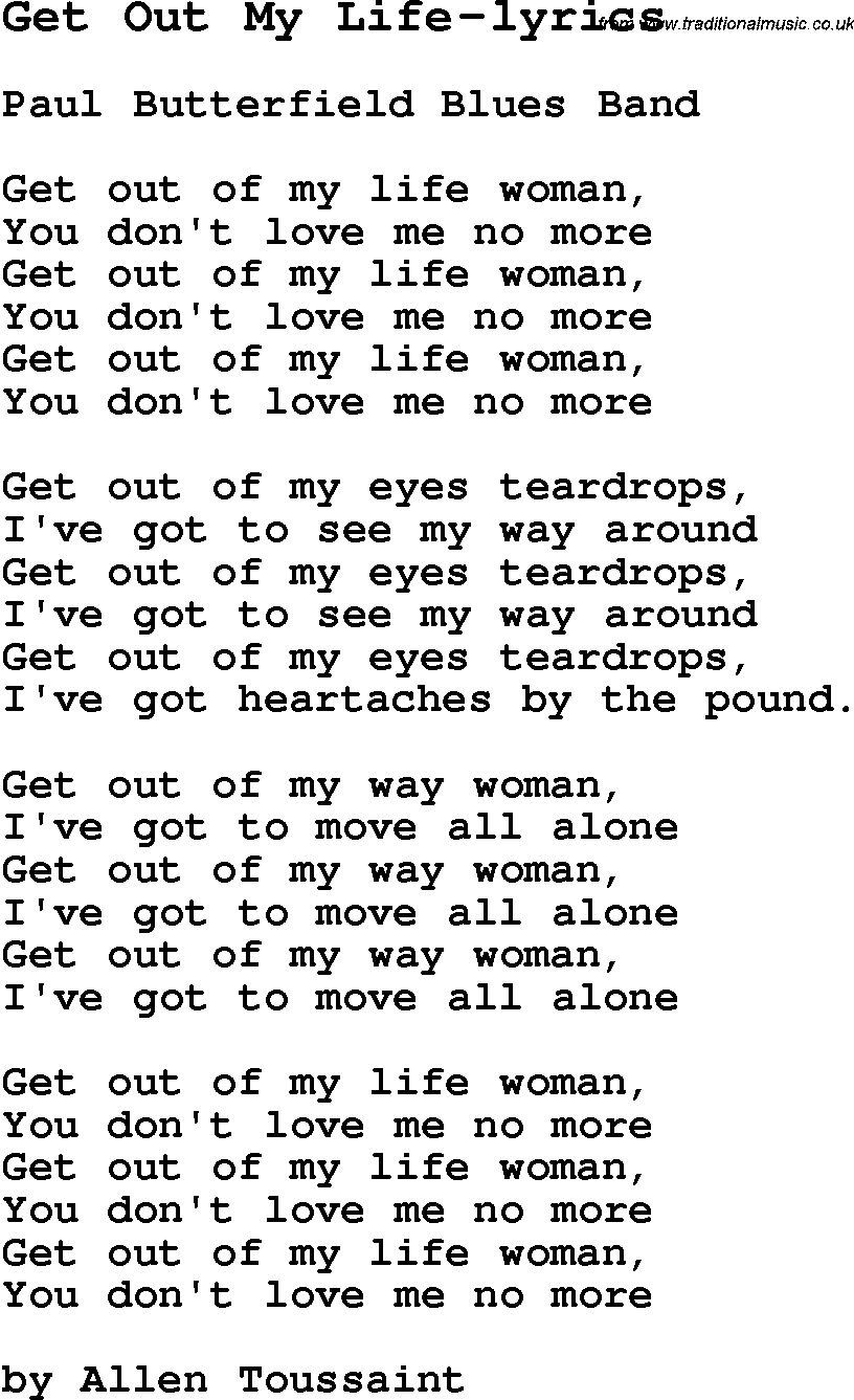 Blues Guitar Lesson For Get Out My Life Lyrics With Chords Tabs