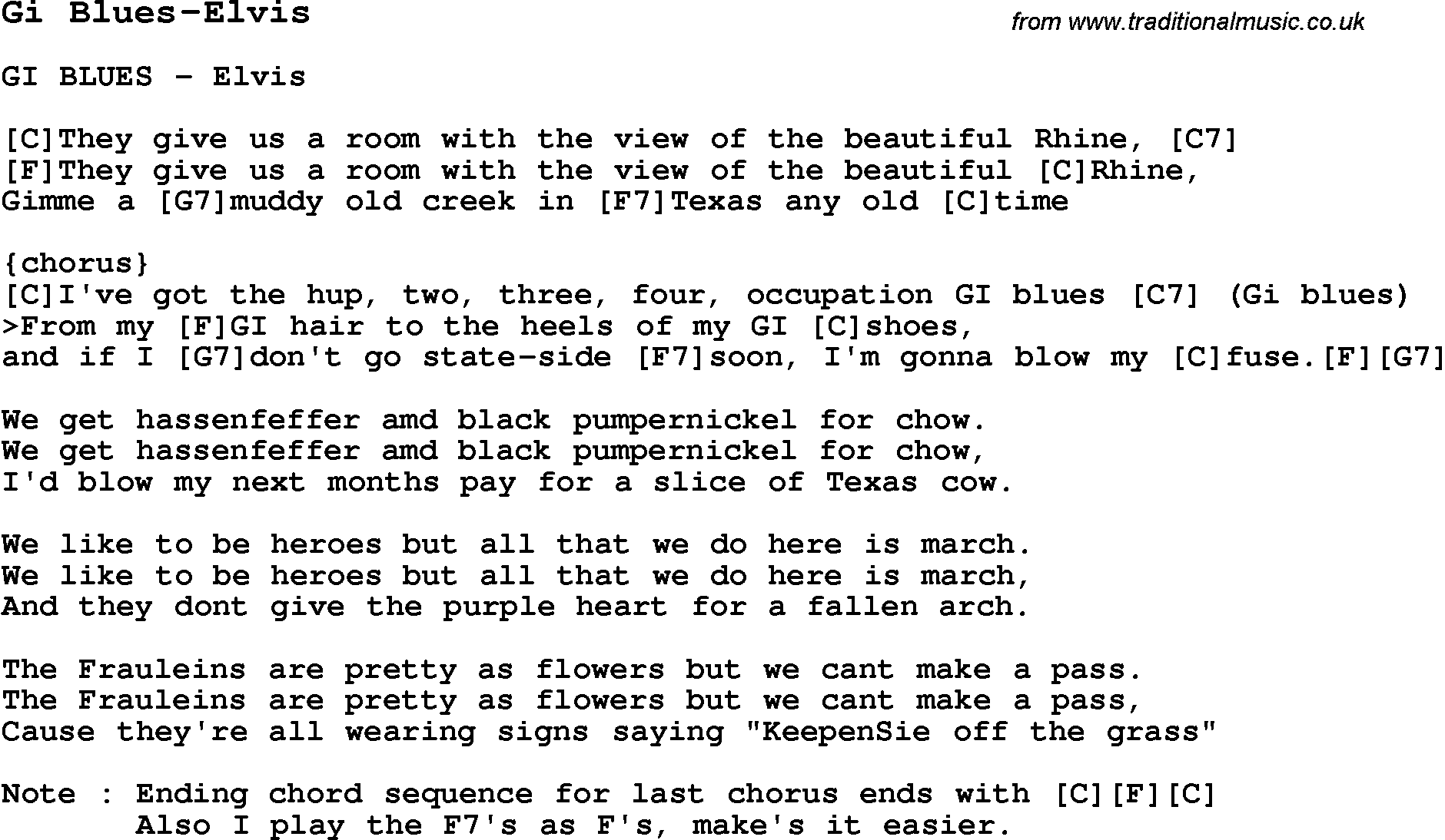 Blues Guitar Lesson For Gi Blues Elvis With Chords Tabs And Lyrics