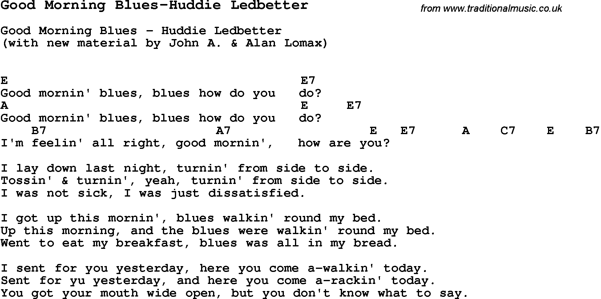 Blues Guitar Lesson For Good Morning Blues Huddie Ledbetter With