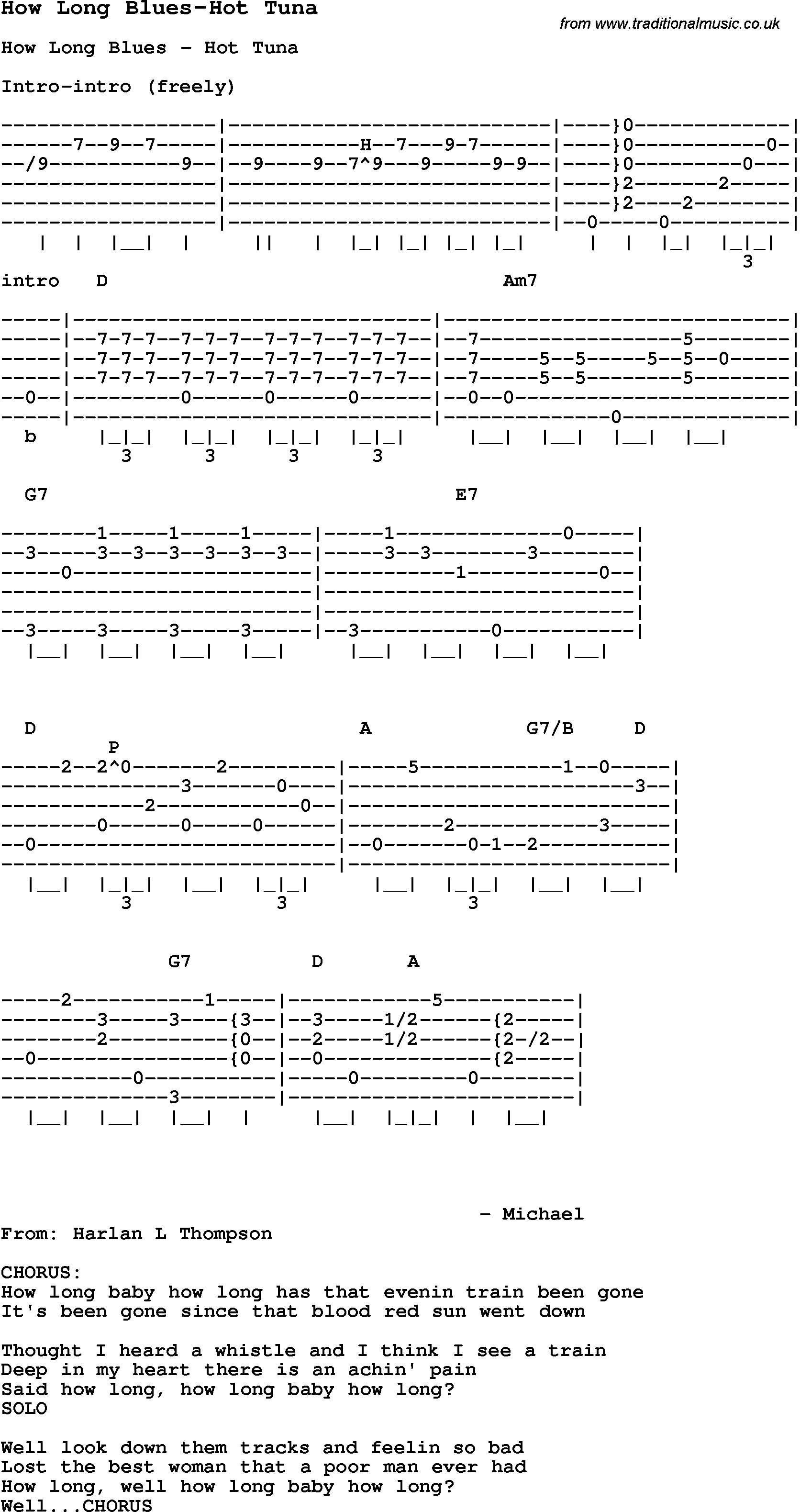 Blues Guitar Lesson For How Long Blues Hot Tuna With Chords Tabs