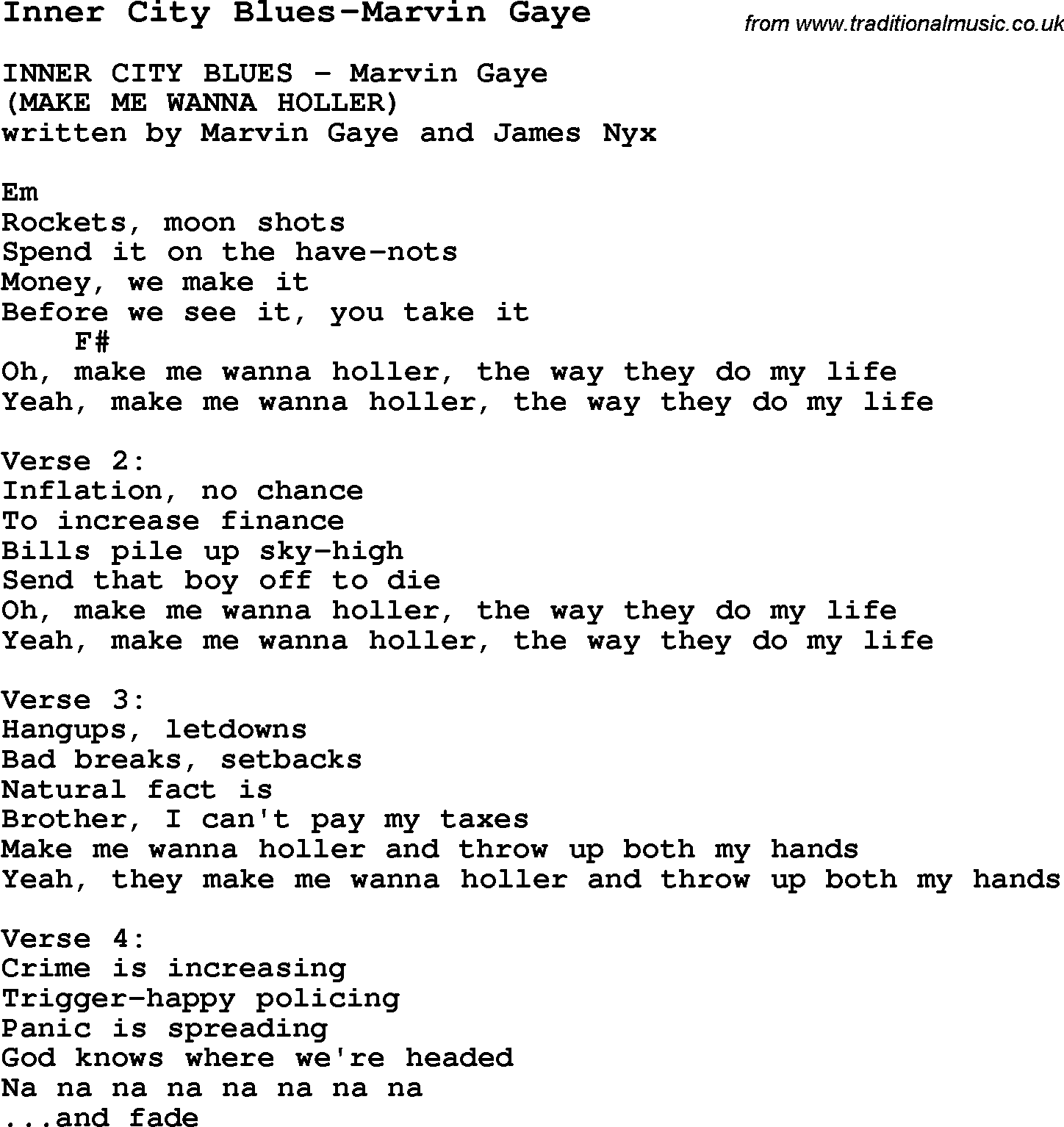 Whats going on marvin gay lyrics