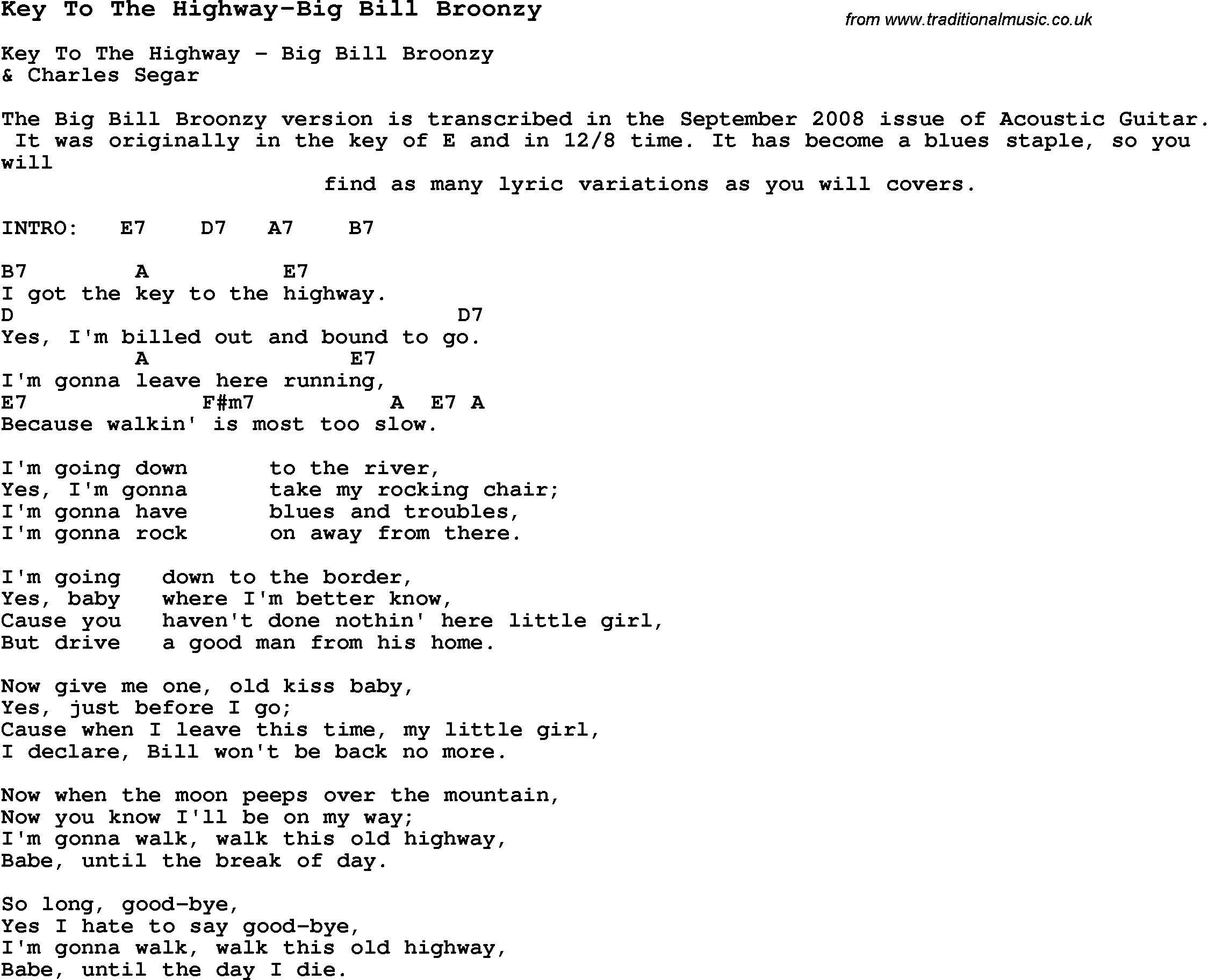 Blues guitar lesson for key to the highway big bill broonzy with blues guitar song lyrics chords tablature playing hints for key to the hexwebz Image collections