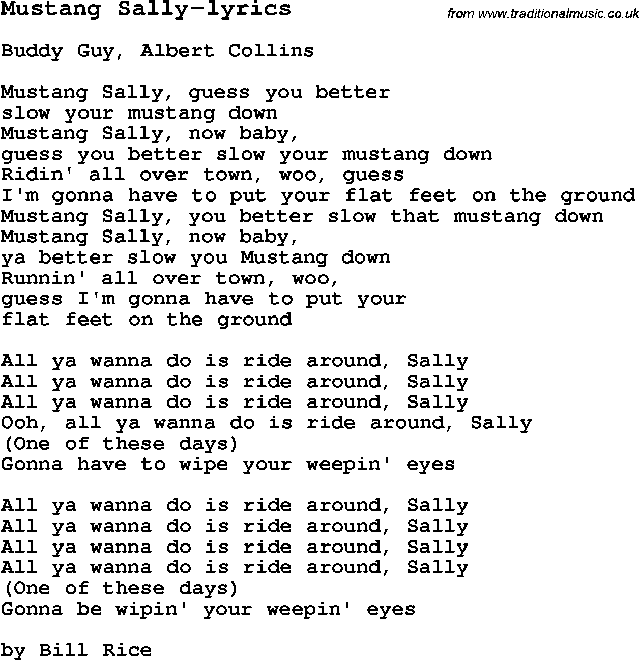 Blues Guitar Song lyrics chords tablature playing hints for Mustang Sally-  sc 1 st  Traditional Music Library & Blues Guitar lesson for Mustang Sally-lyrics with Chords Tabs and ...