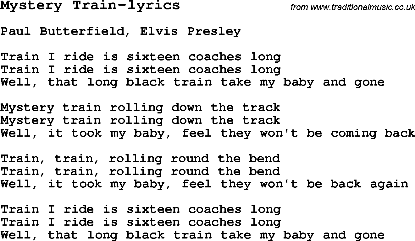 Blues Guitar Lesson For Mystery Train Lyrics With Chords Tabs And