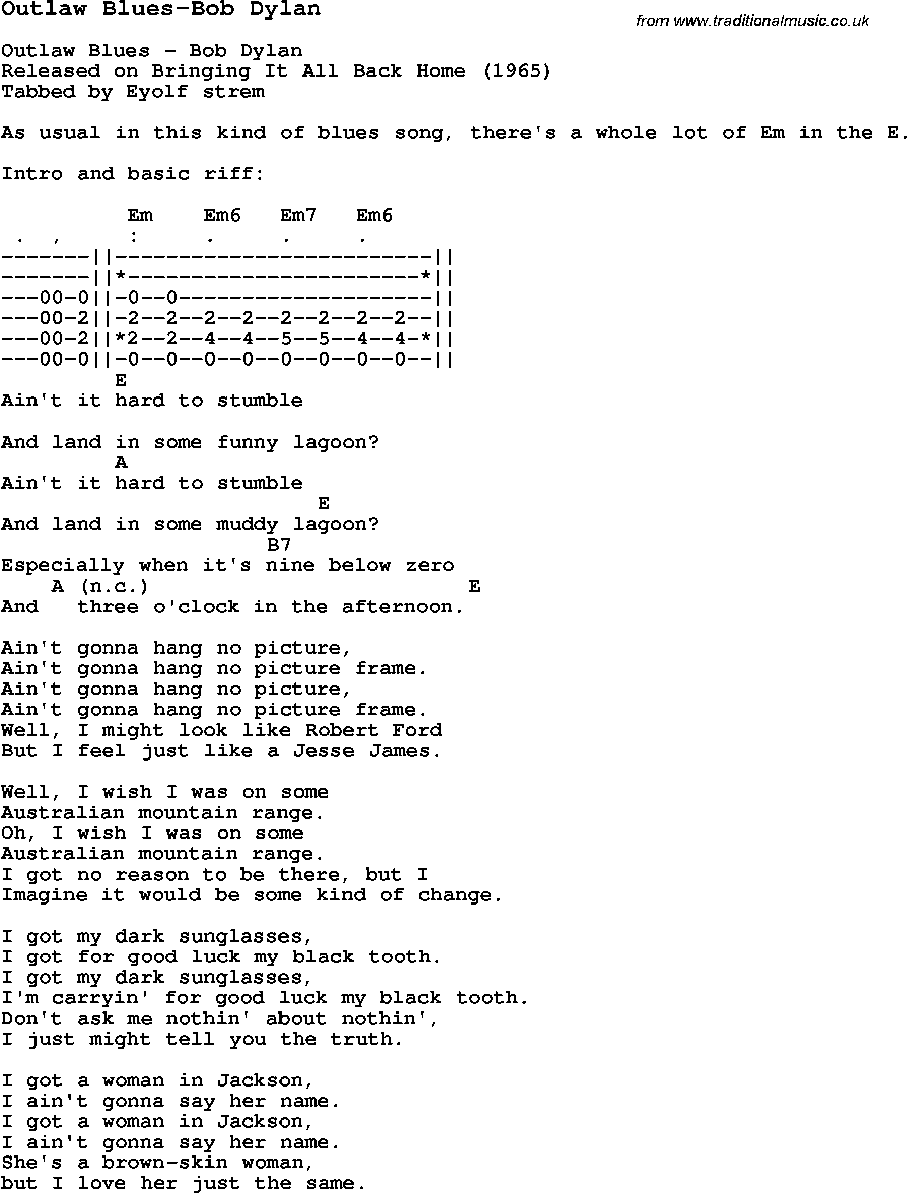 Blues Guitar lesson for Outlaw Blues-Bob Dylan, with Chords, Tabs, and Lyrics