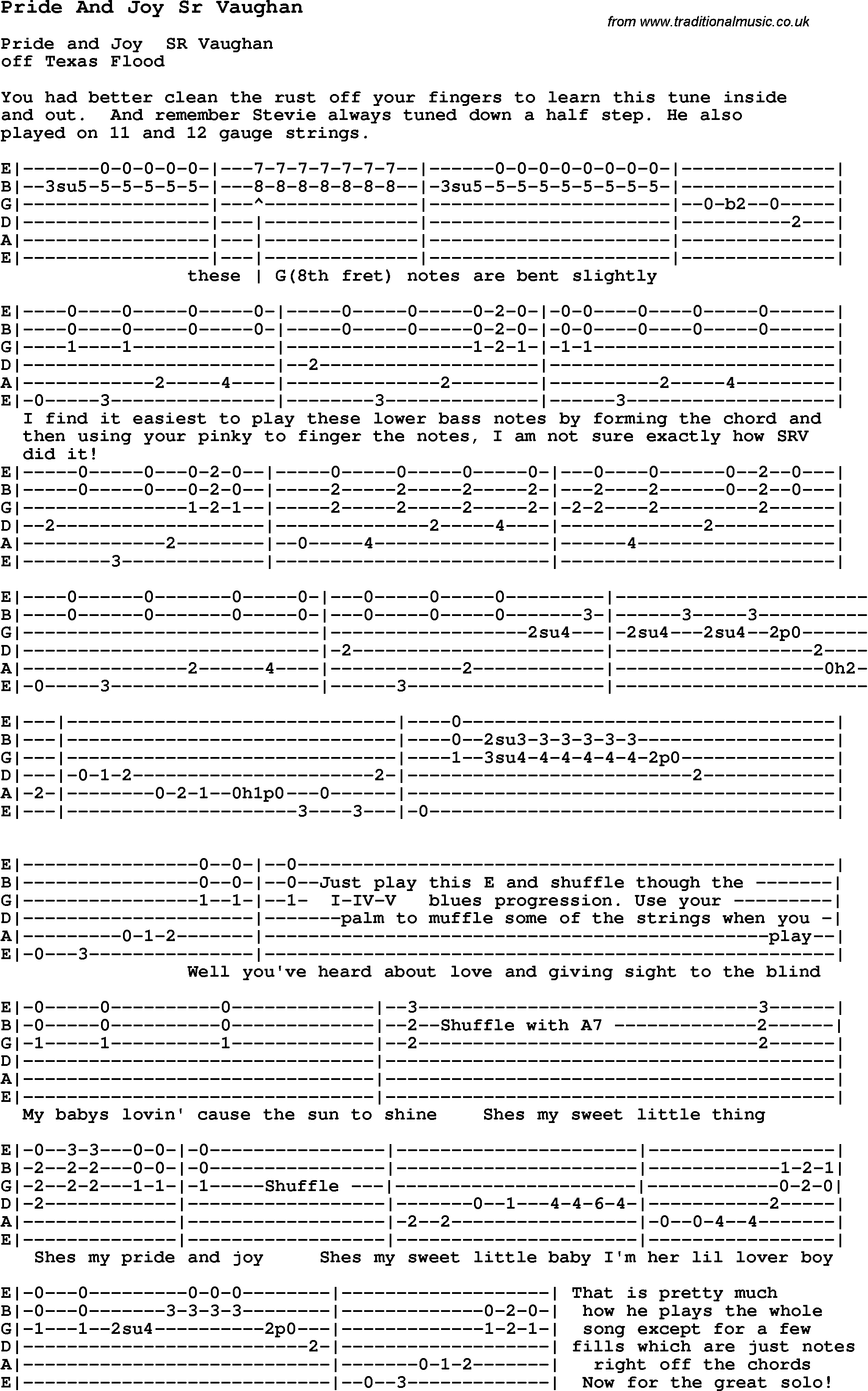Blues Guitar lesson for Pride And Joy Sr Vaughan, with Chords ...