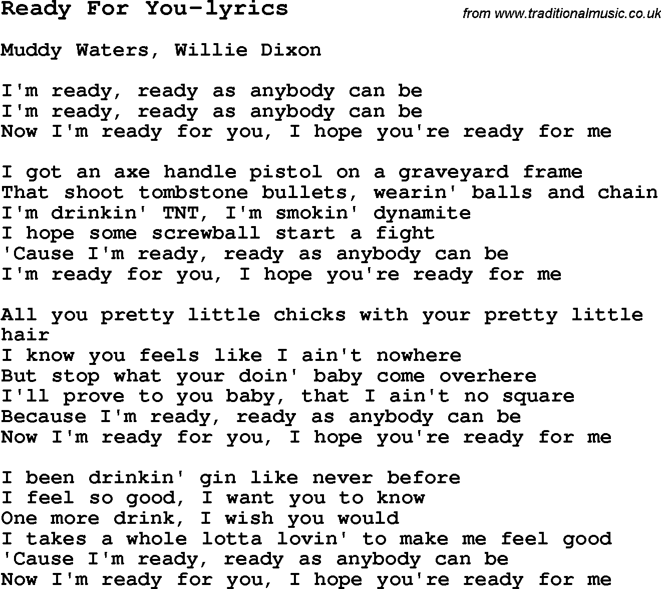 Lyrics containing the term: are you ready