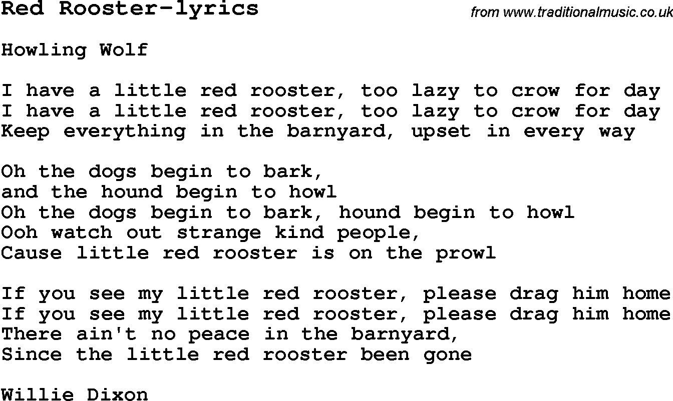 Blues Guitar Lesson For Red Rooster Lyrics With Chords Tabs And