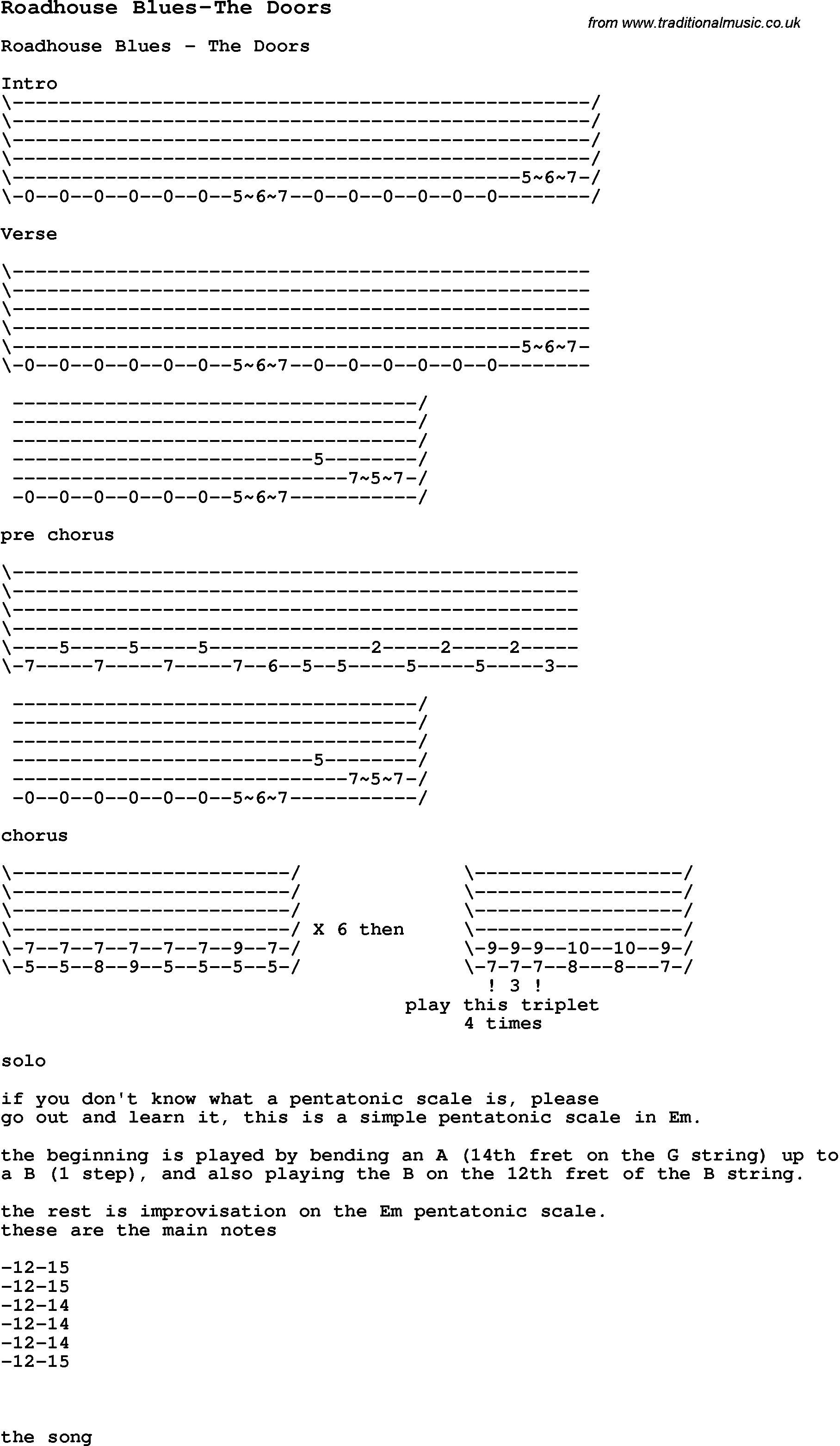 Roadhouse blues guitar chords